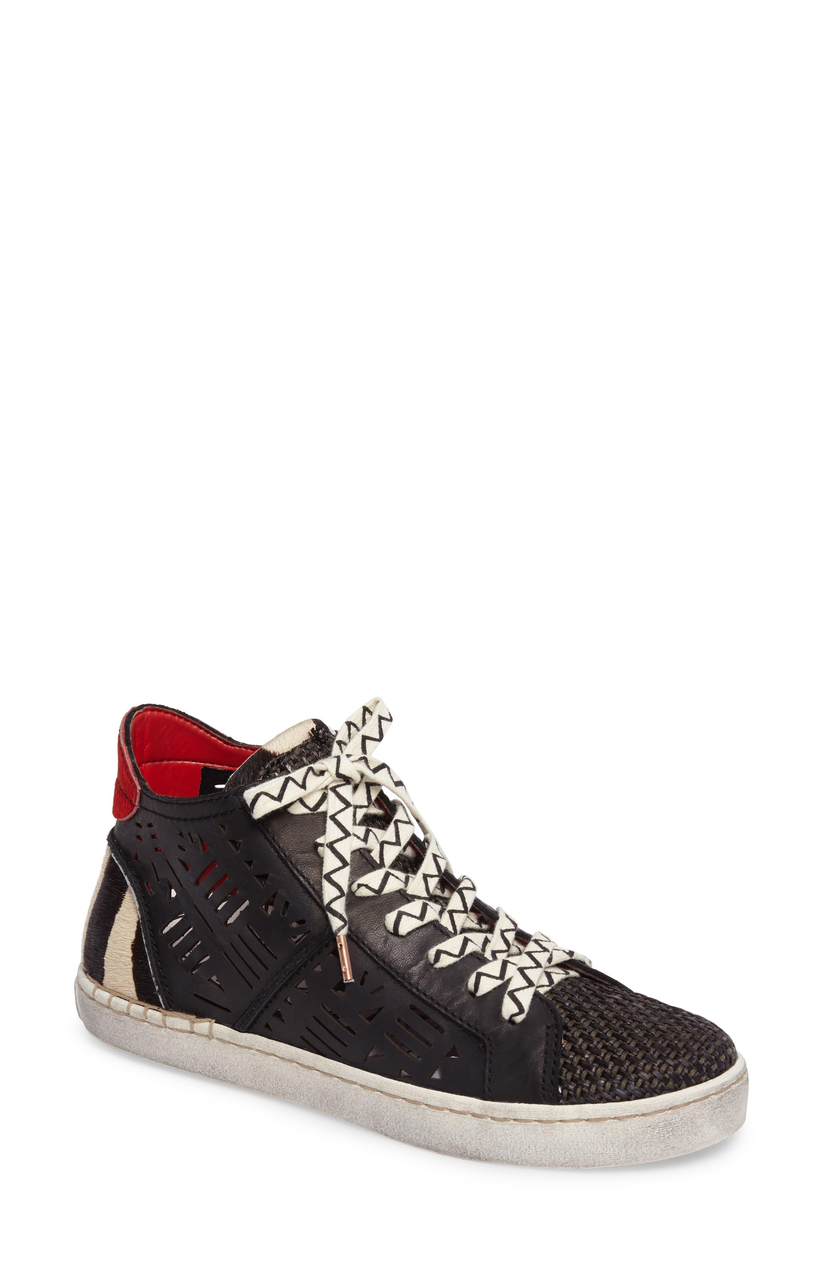 Zeus Genuine Calf Hair Sneaker,                             Main thumbnail 1, color,                             Black Lea