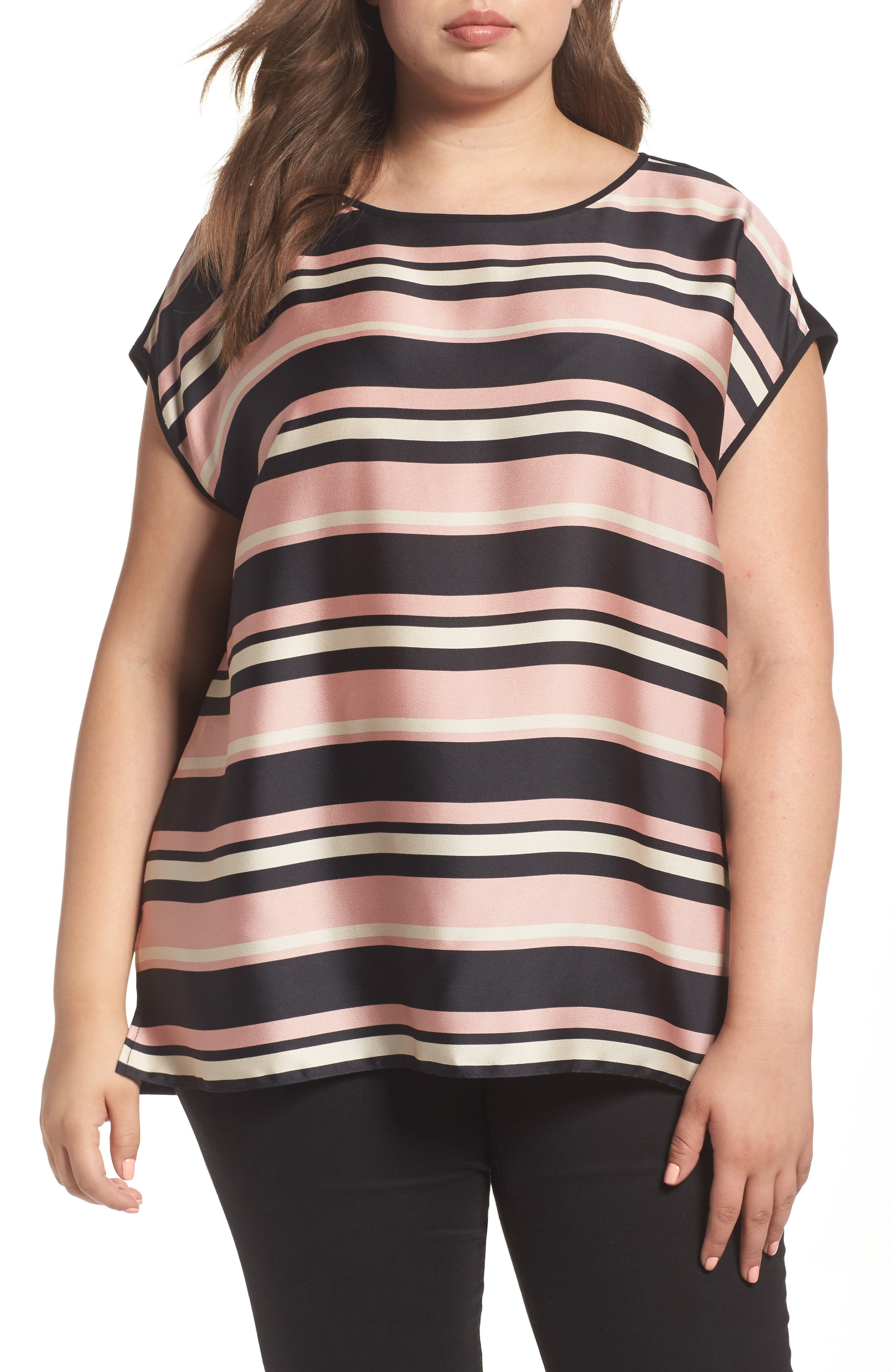Vince Camuto Modern Chords Mixed Media Top (Plus Size)