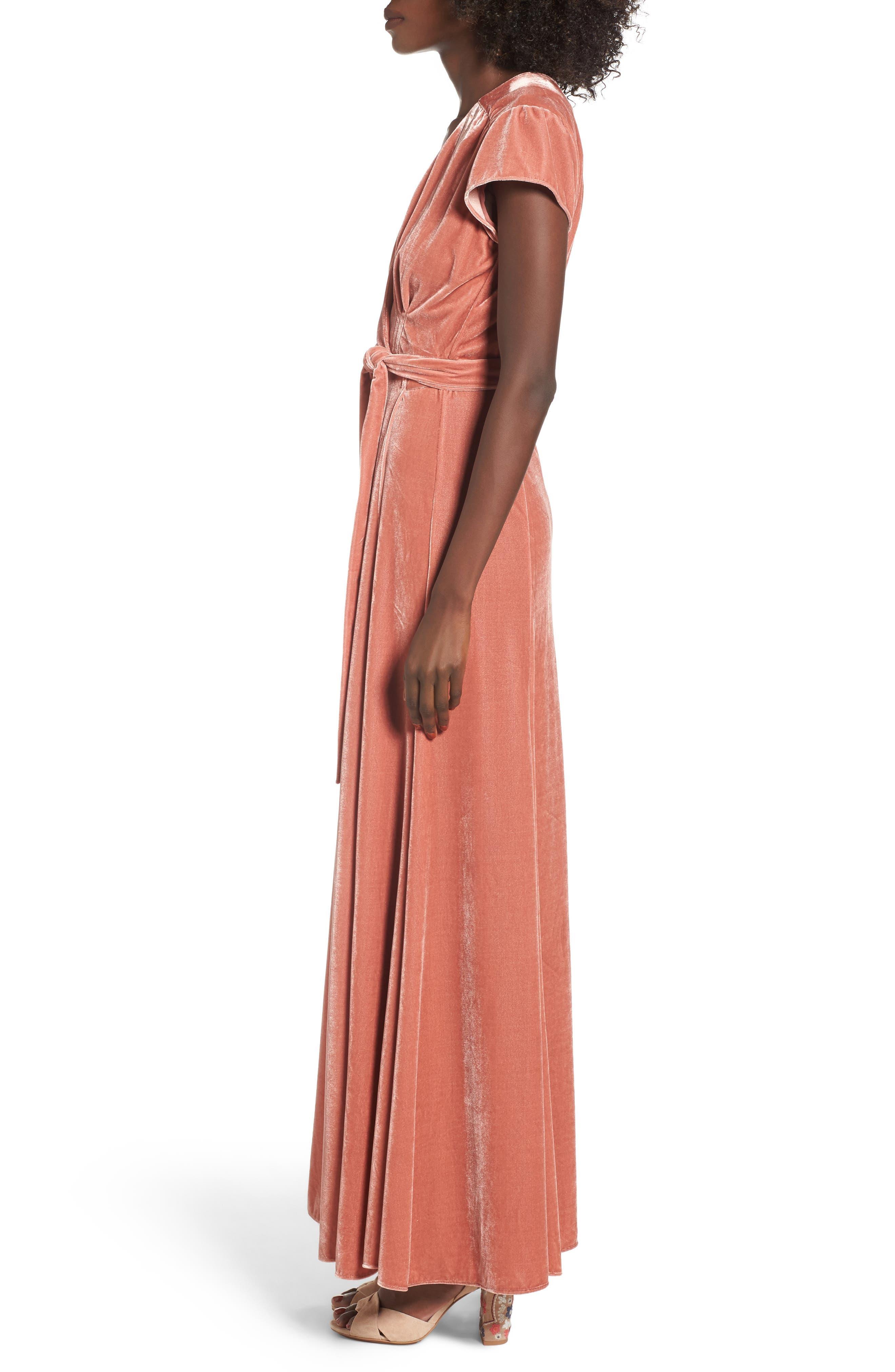 Sid Velvet Wrap Maxi Dress,                             Alternate thumbnail 3, color,                             Wild Rose