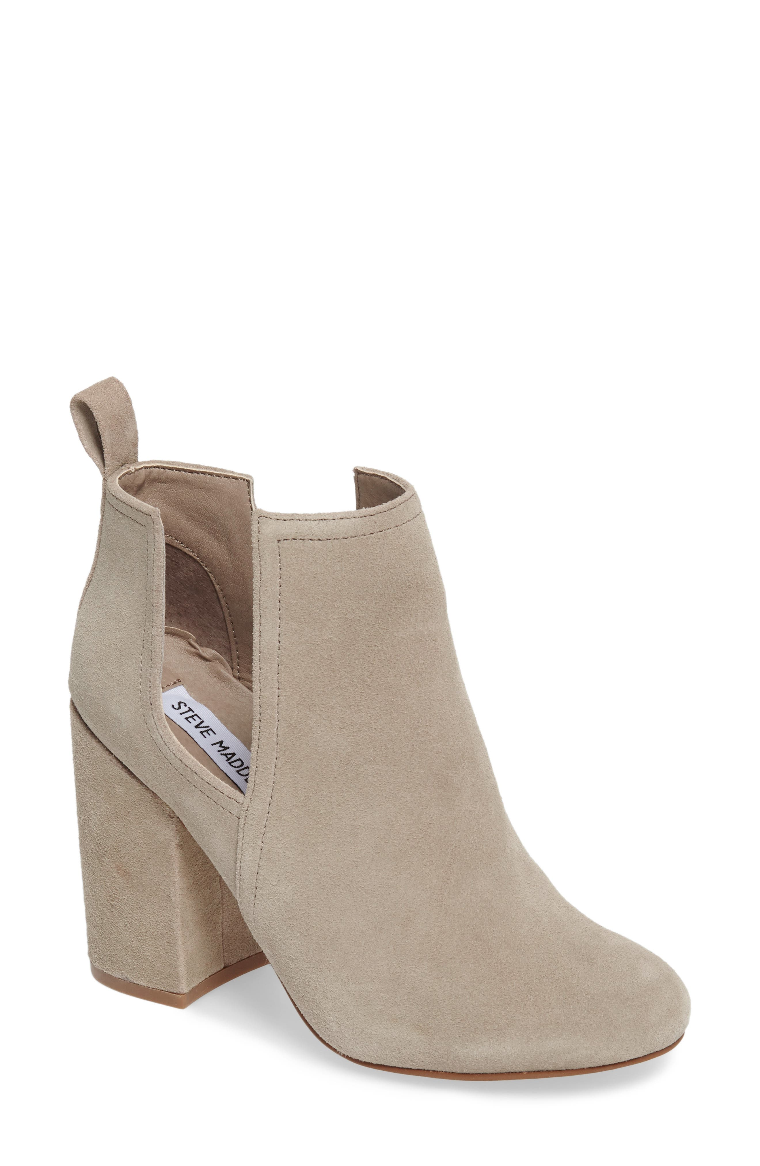Naomi Cutout Bootie,                             Main thumbnail 1, color,                             Taupe Suede