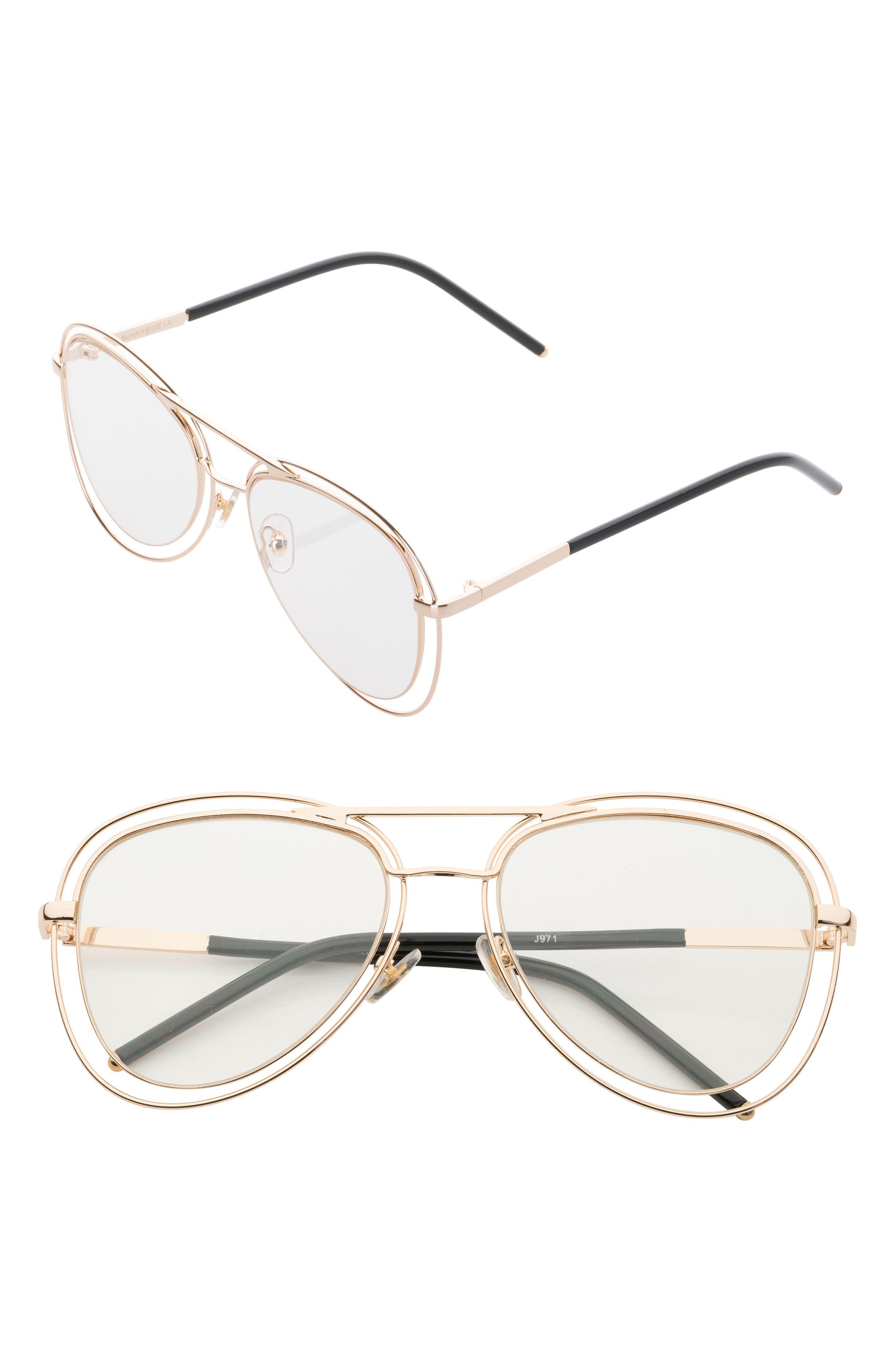 55mm Aviator Fashion Glasses,                             Main thumbnail 1, color,                             Gold