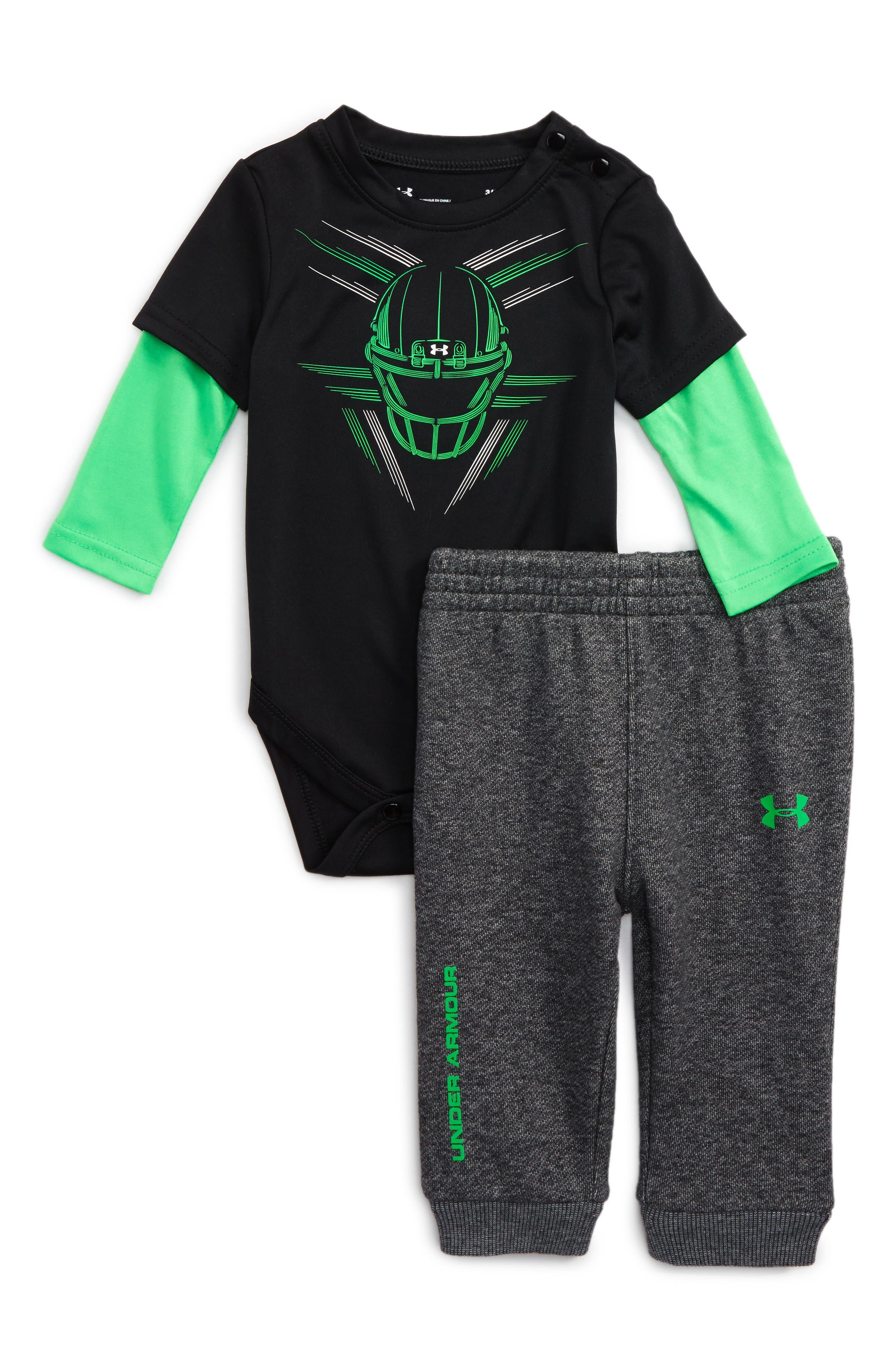 Main Image - Under Armour Digi Helmet Bodysuit & Pants Set (Baby Boys)