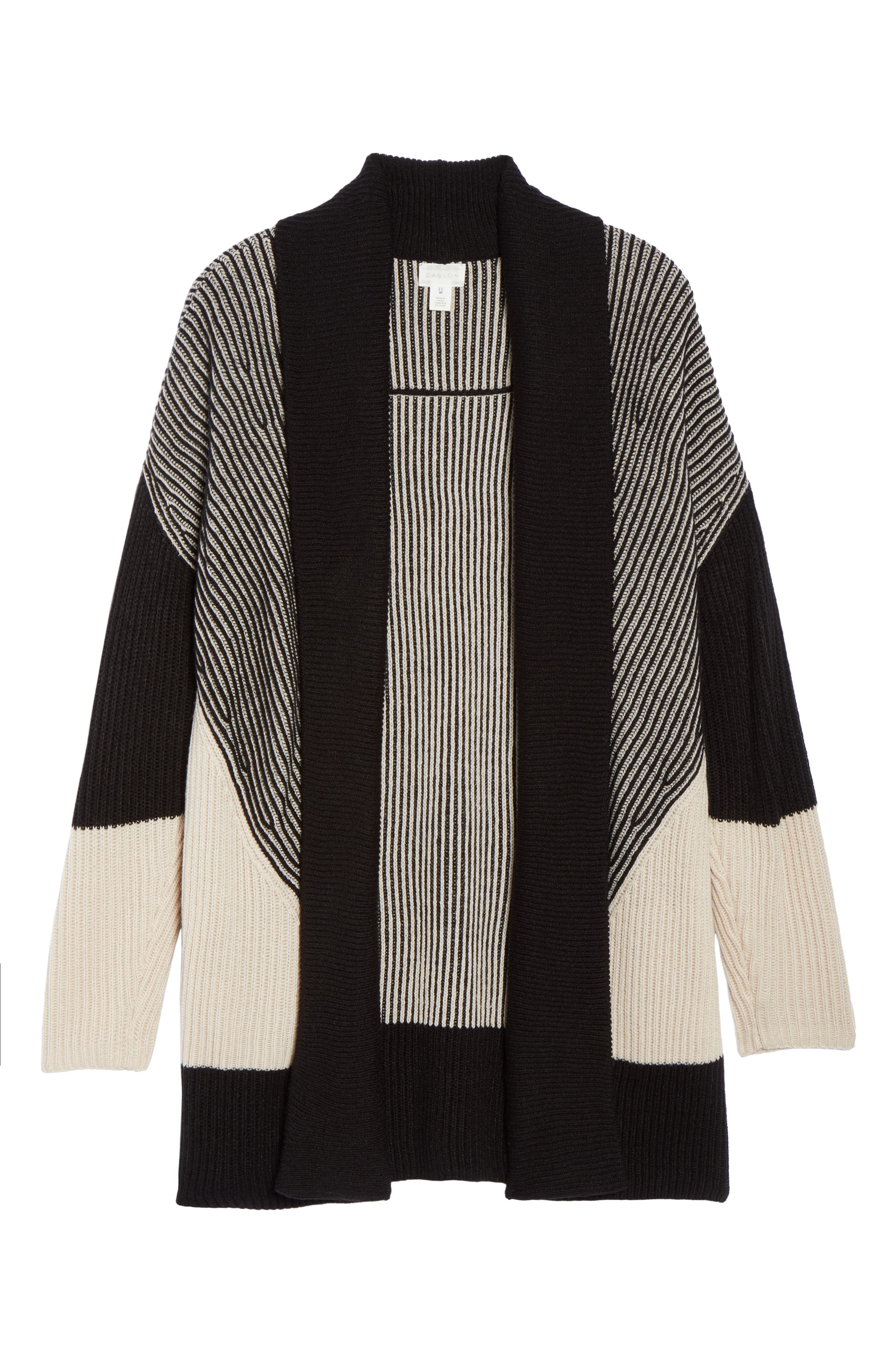 Colorblock Ribbed Cardigan,                             Alternate thumbnail 6, color,                             Beige- Black Pattern