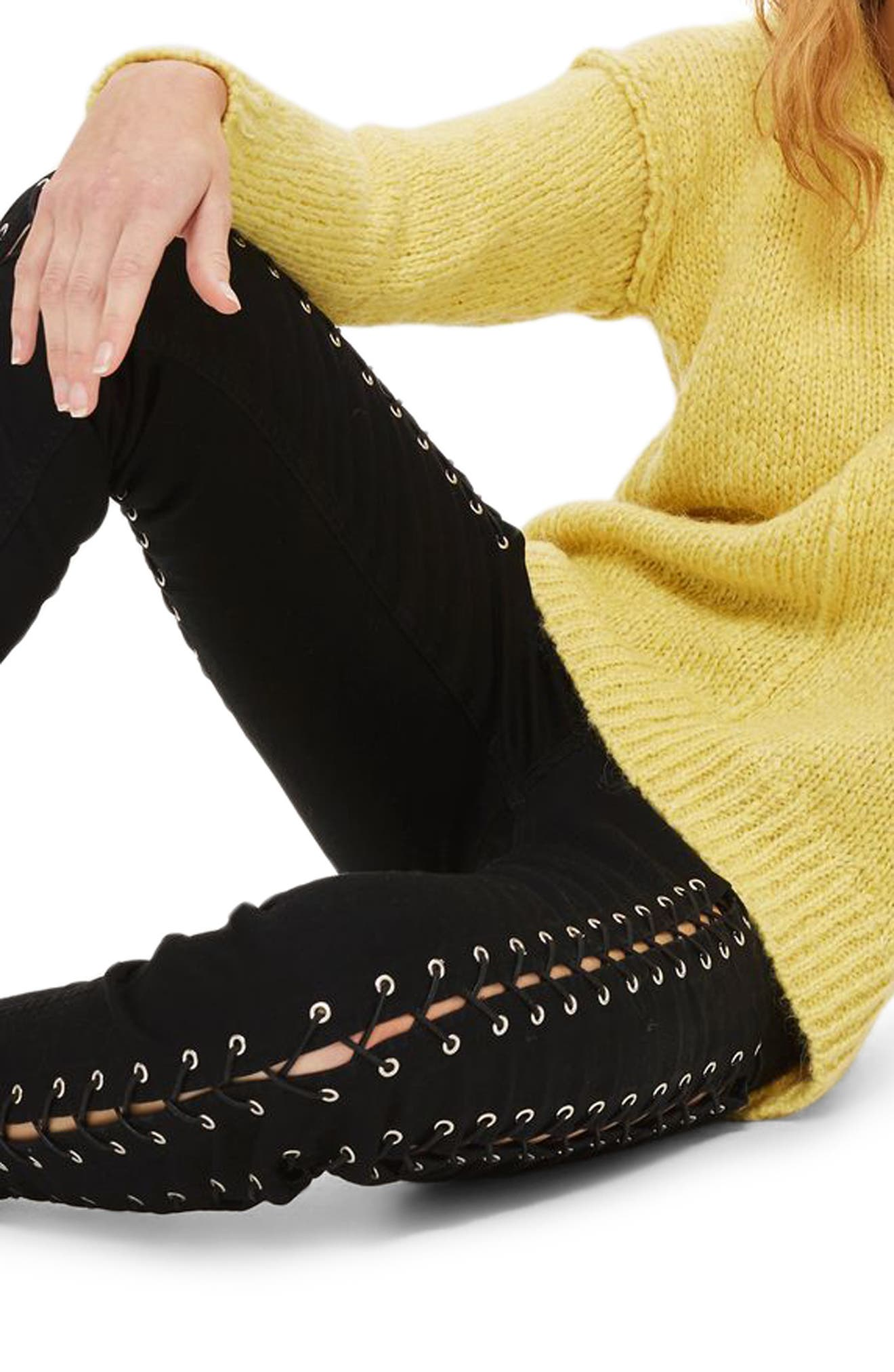 Main Image - Topshop Jamie Extreme Lace-Up Skinny Jeans