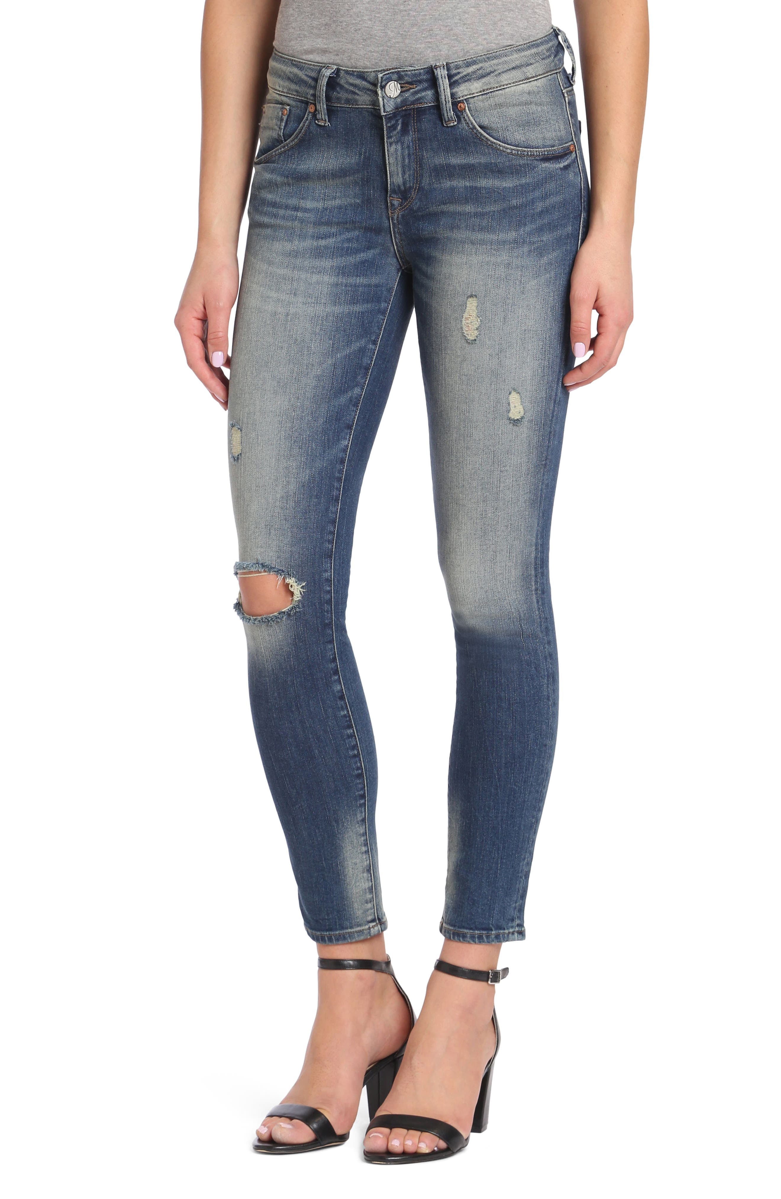 Adriana Stretch Skinny Jeans,                         Main,                         color, Mid Shaded Glam Vintage