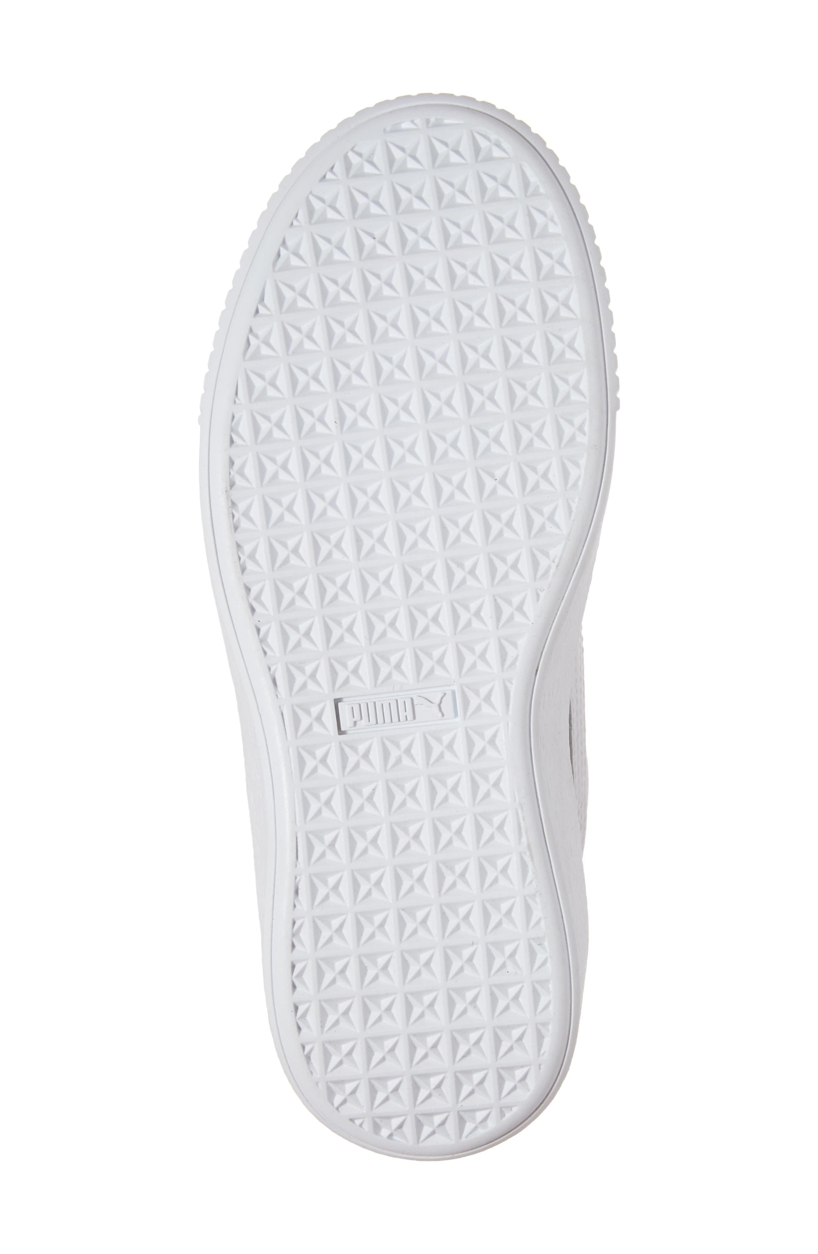 Basket Glitz Platform Sneaker,                             Alternate thumbnail 6, color,                             Puma White