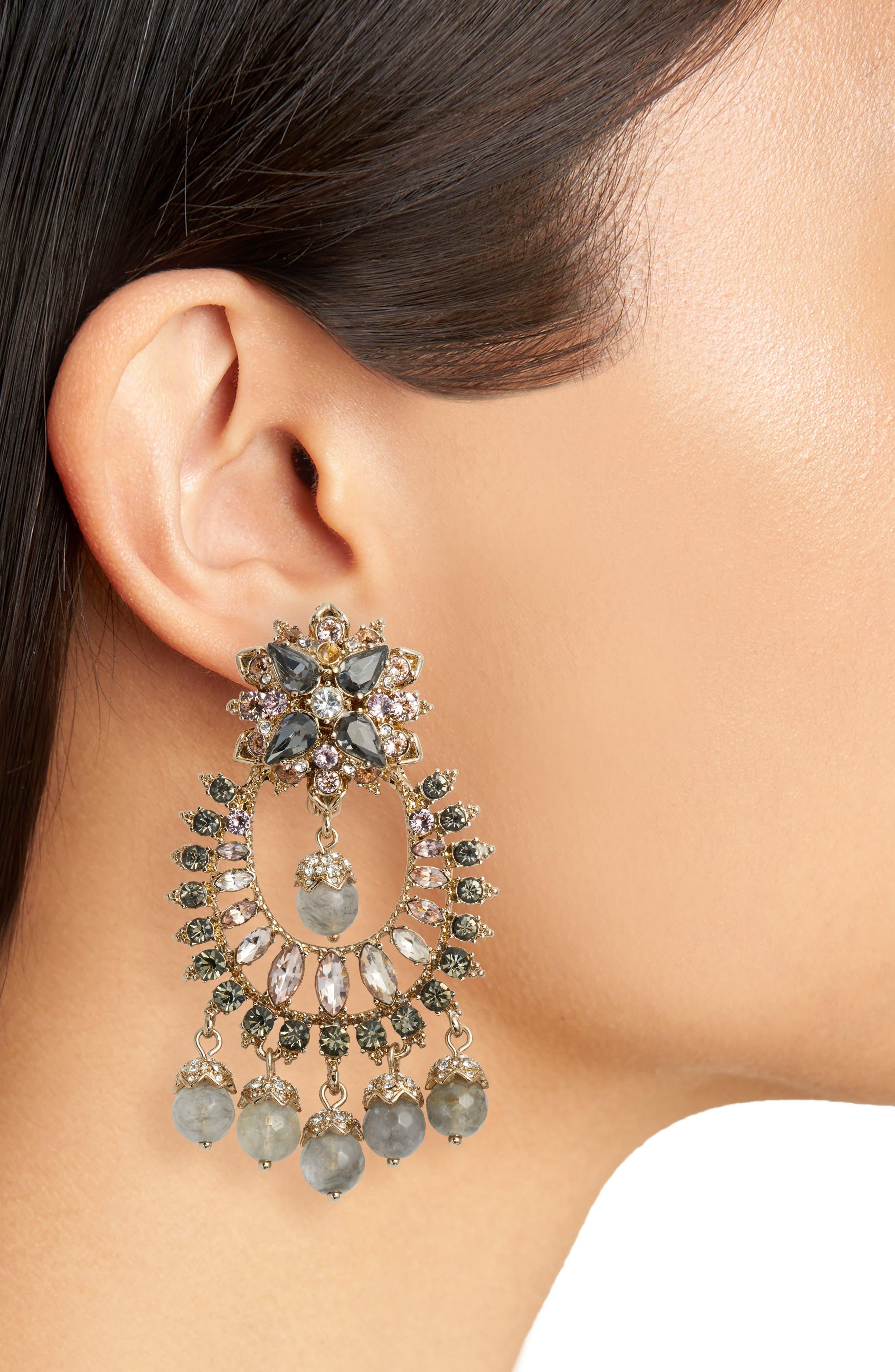Drama Crystal Earrings,                             Alternate thumbnail 2, color,                             Gold/ Grey Multi