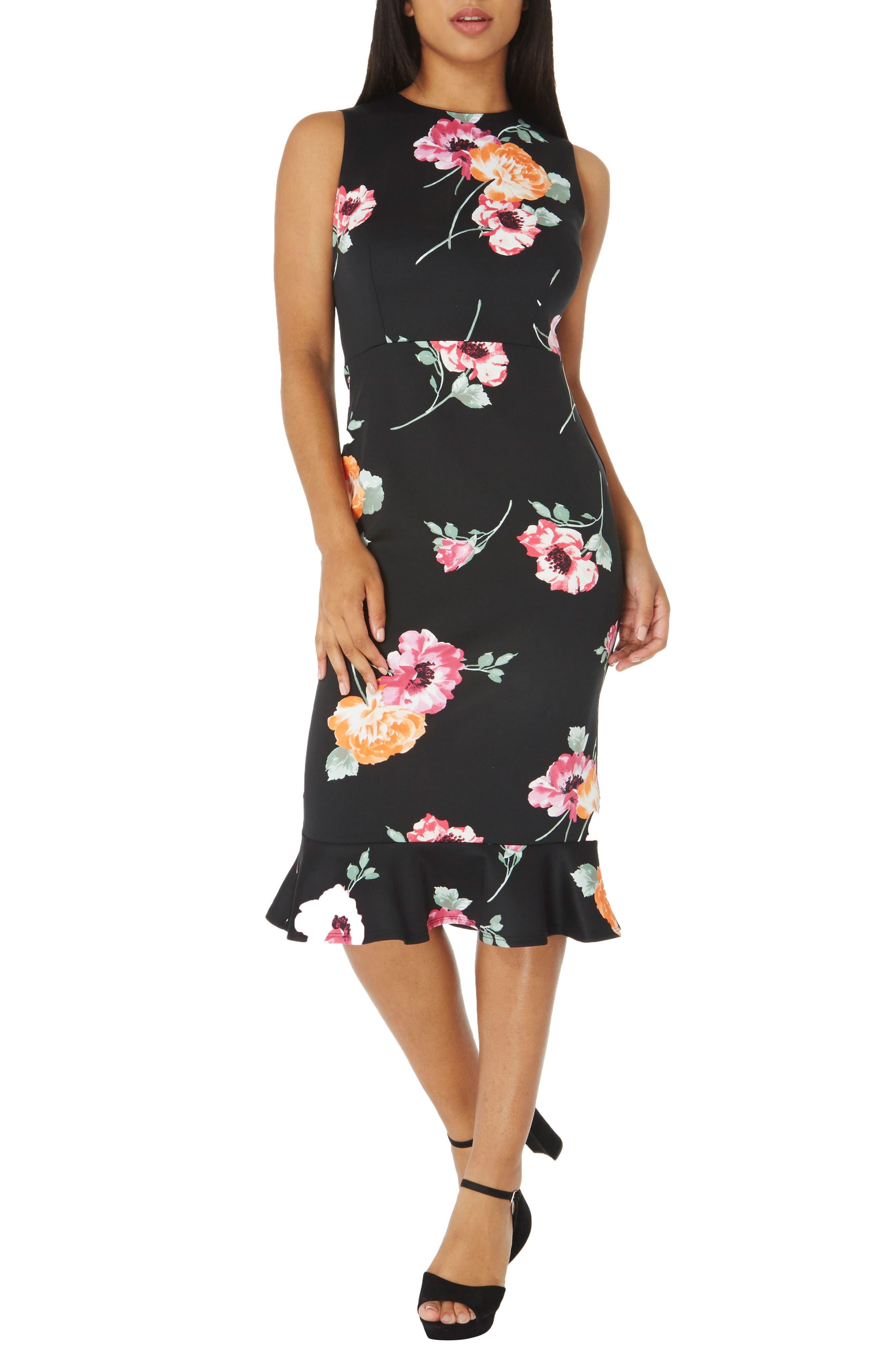 Floral Sheath Dress,                             Main thumbnail 1, color,                             Black