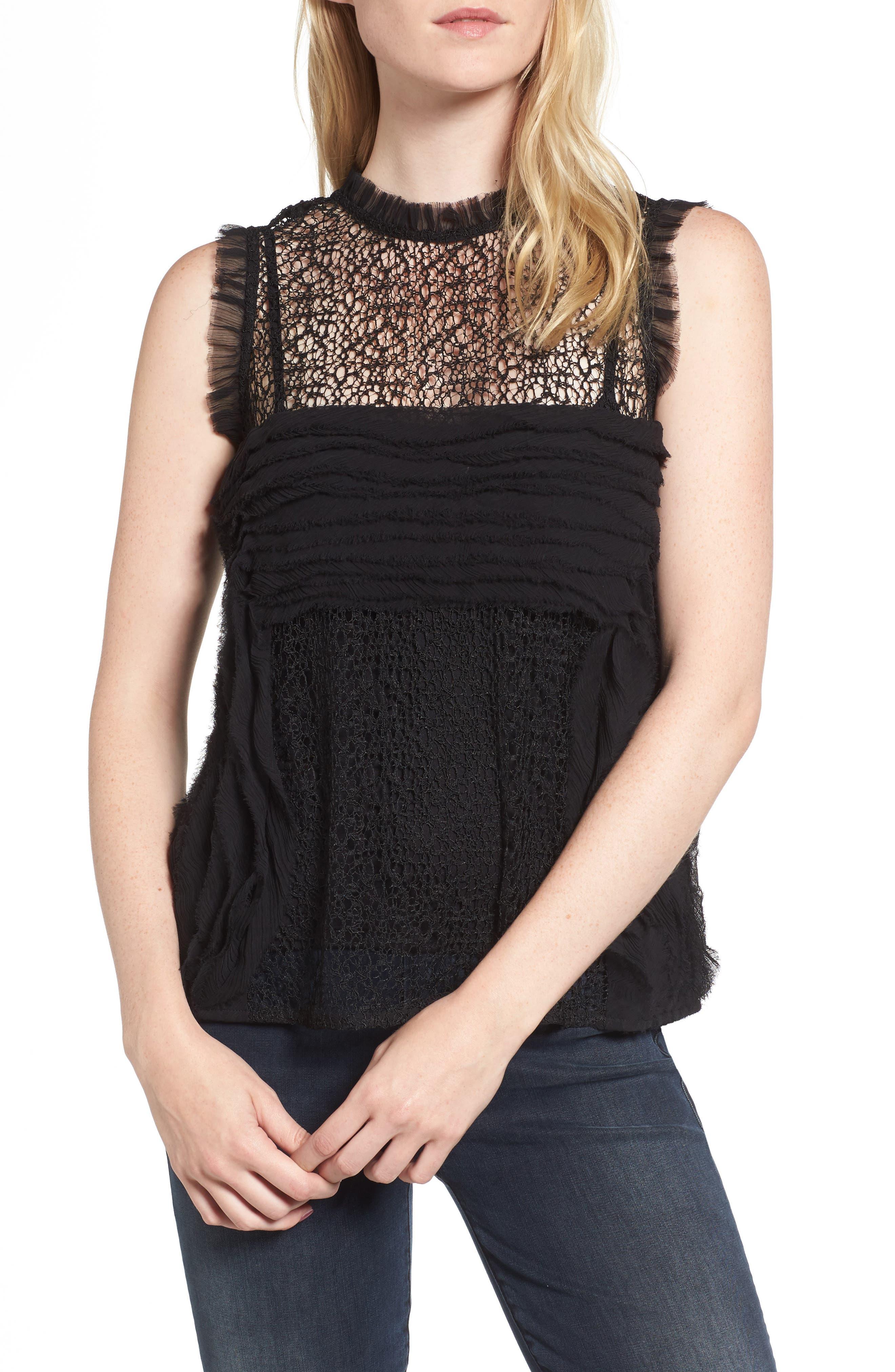 Chiffon & Lace Top,                         Main,                         color, Black