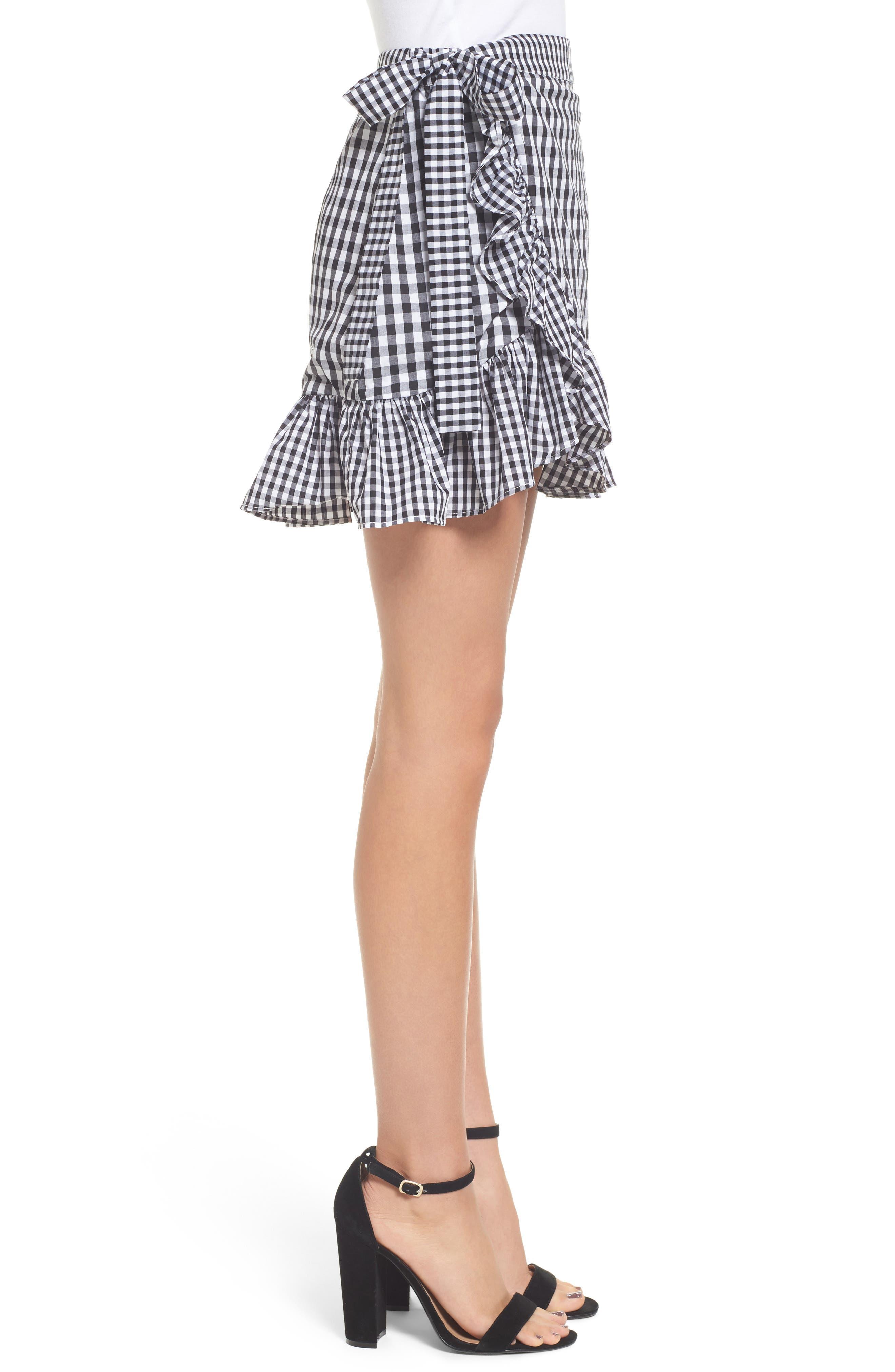Cinci Wrap Skirt,                             Alternate thumbnail 3, color,                             Black/ White