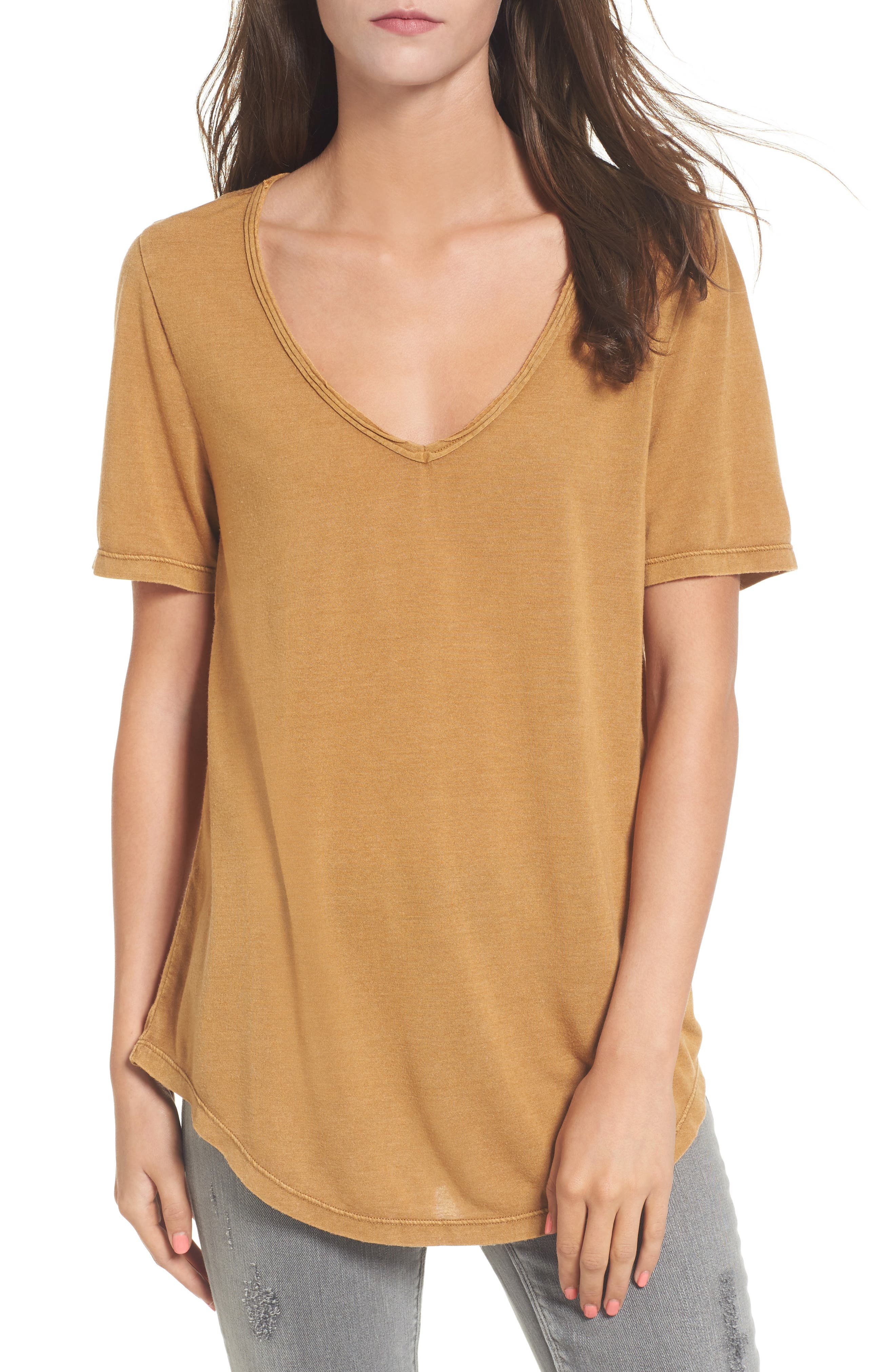 Raw Edge V-Neck Tee,                         Main,                         color, Brown Cattail