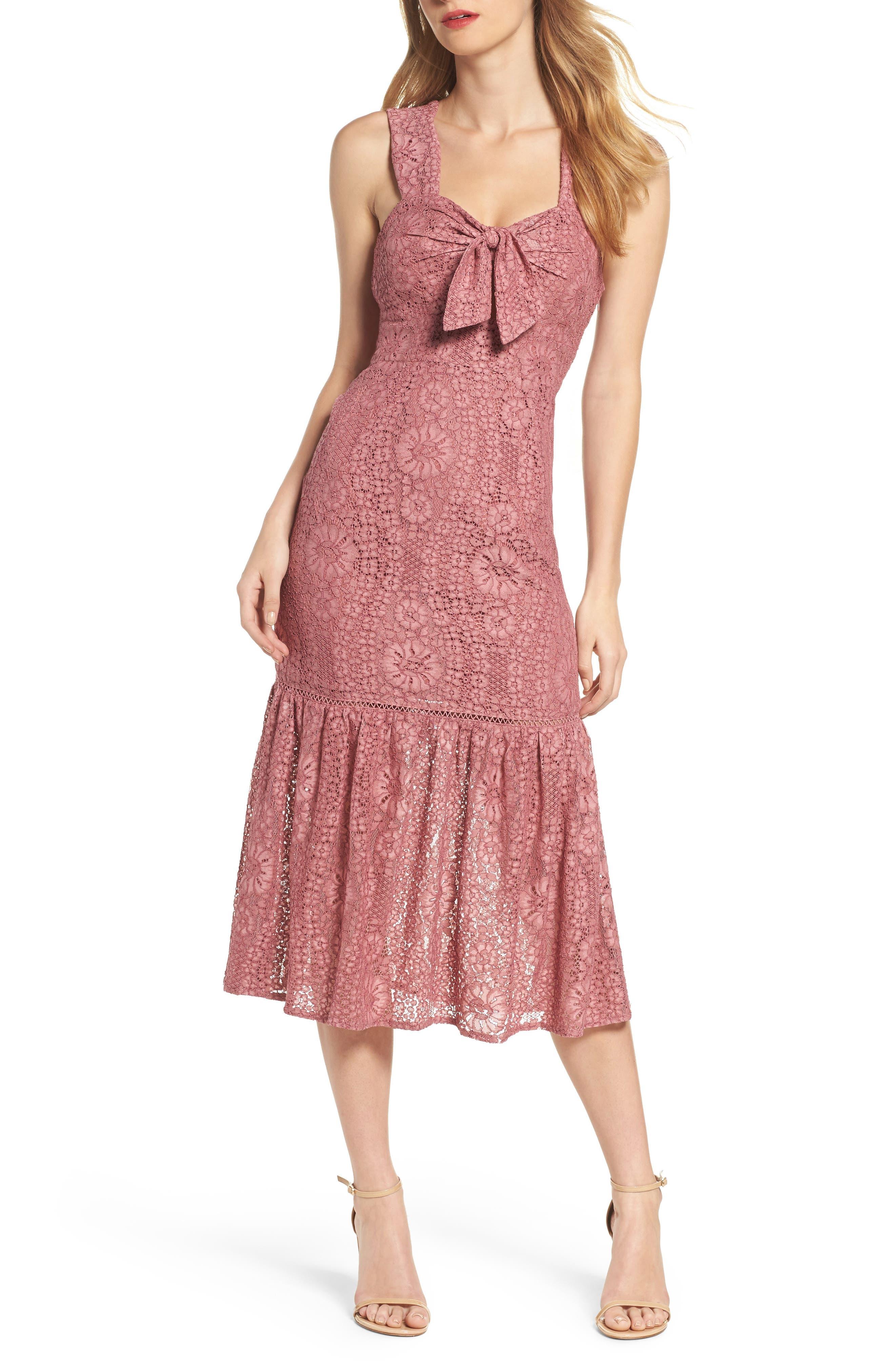 Foxiedox Emilia Lace Peplum Midi Dress