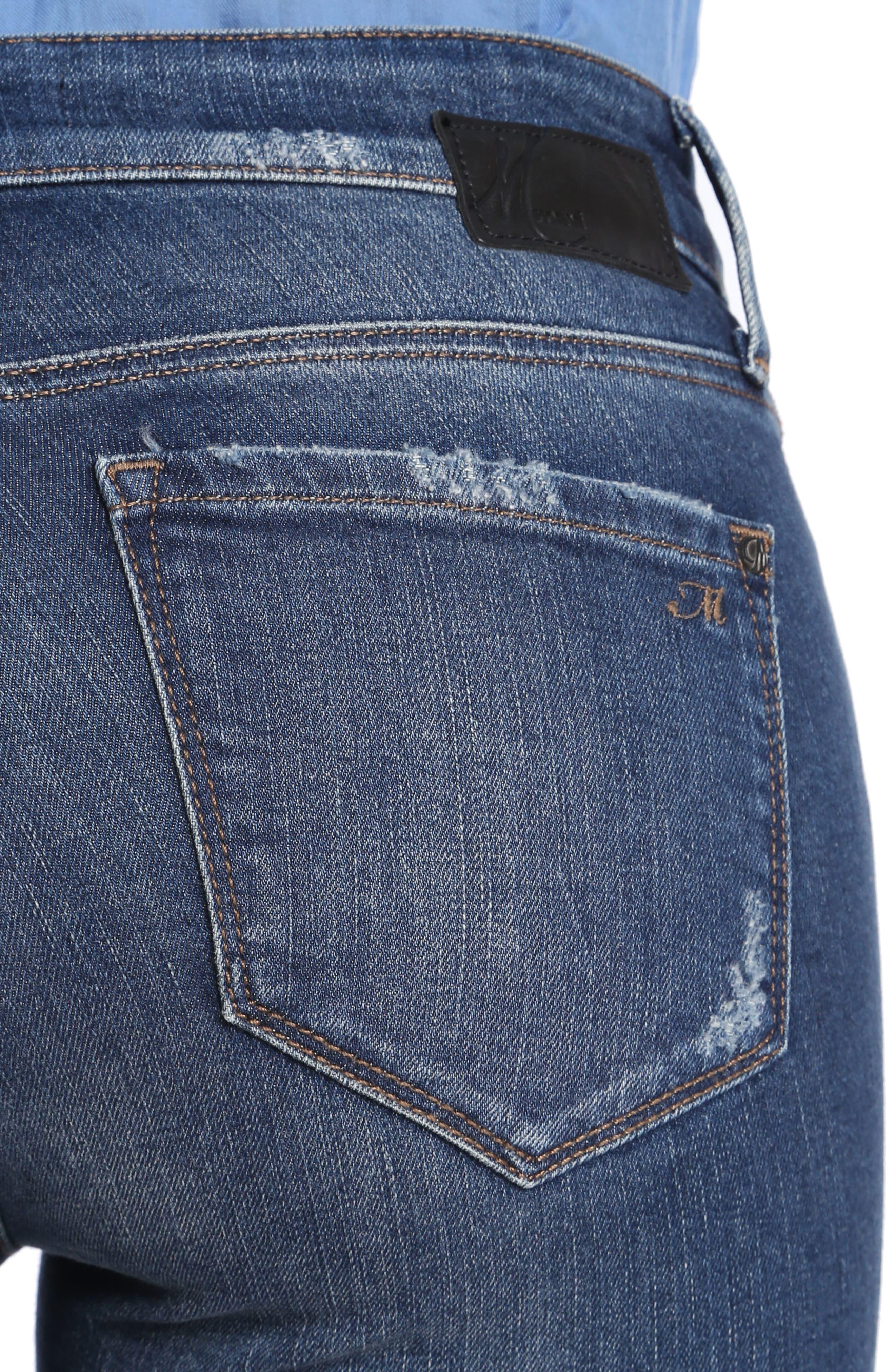 Alternate Image 4  - Mavi Jeans Adriana Patched Stretch Skinny Jeans (Indigo Patched Vintage)