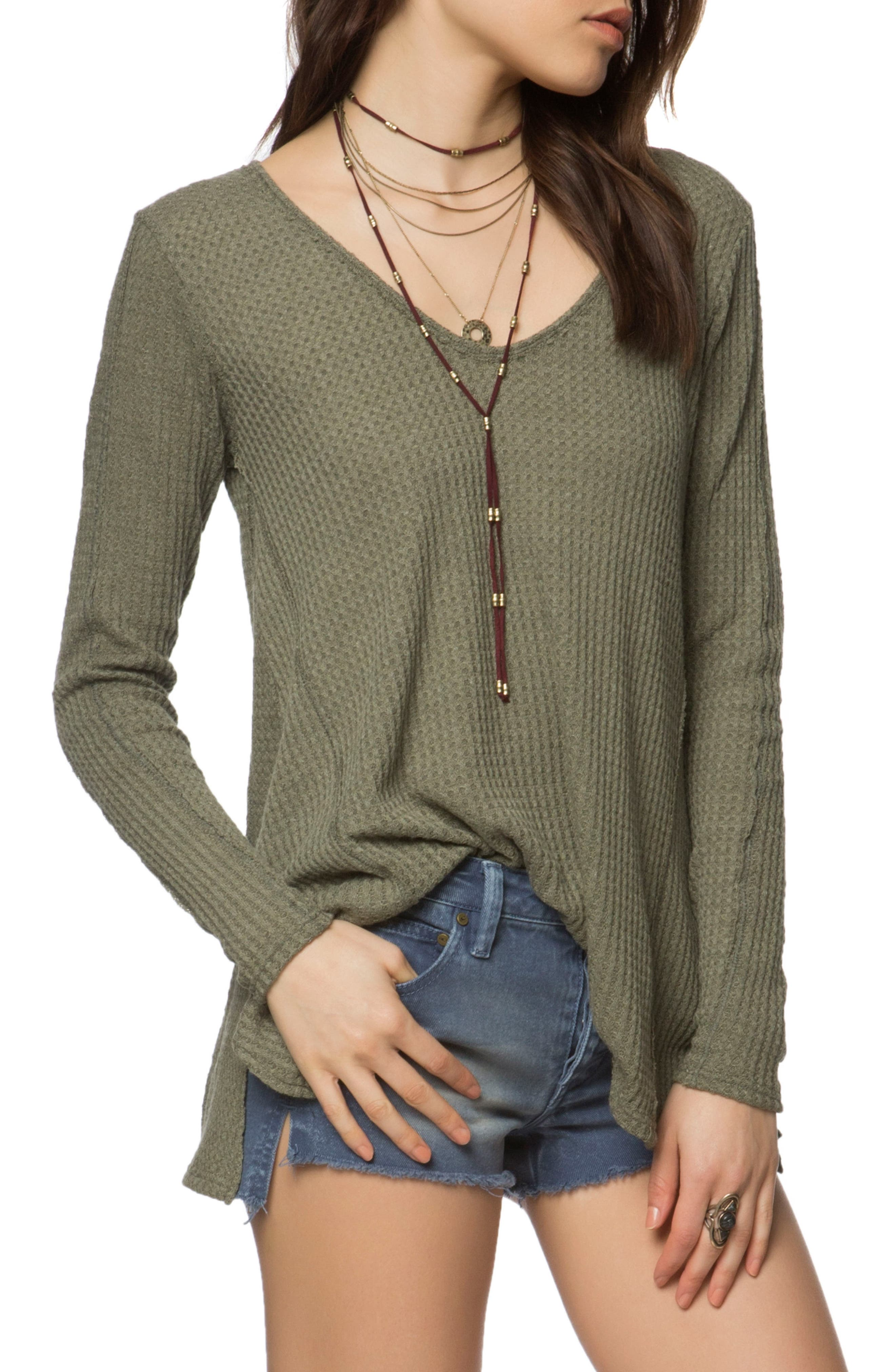 Mickey Waffle Knit Top,                         Main,                         color, Military