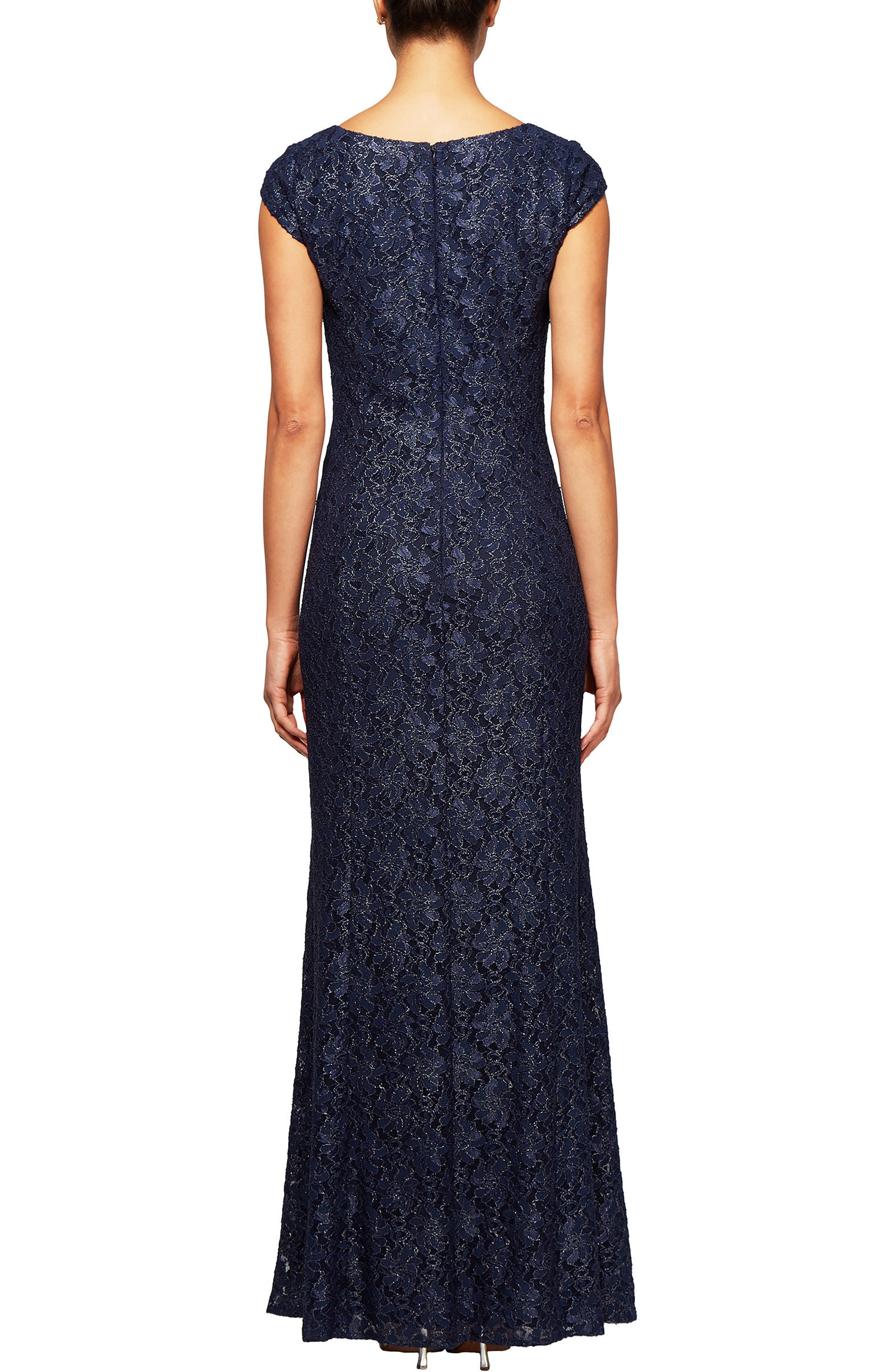 Metallic Lace A-Line Gown,                             Alternate thumbnail 2, color,                             Navy/ Silver