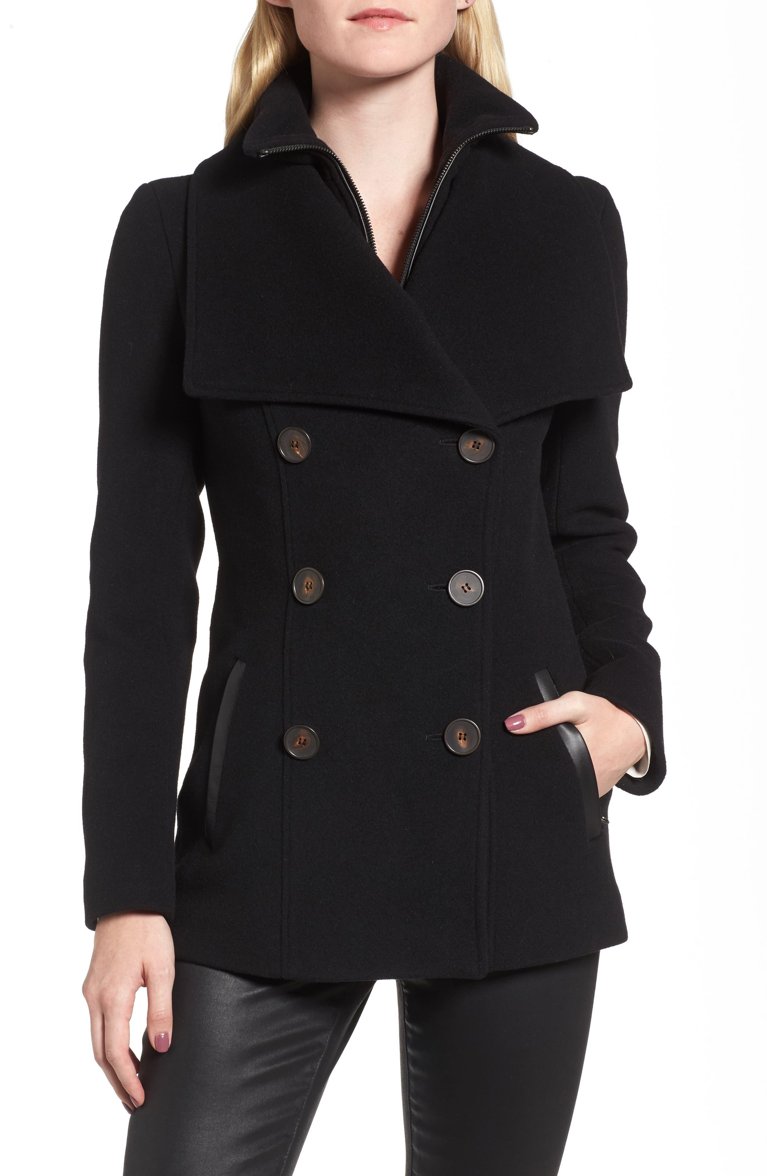 Mackage Norissa Double-Breasted Wool Blend Peacoat