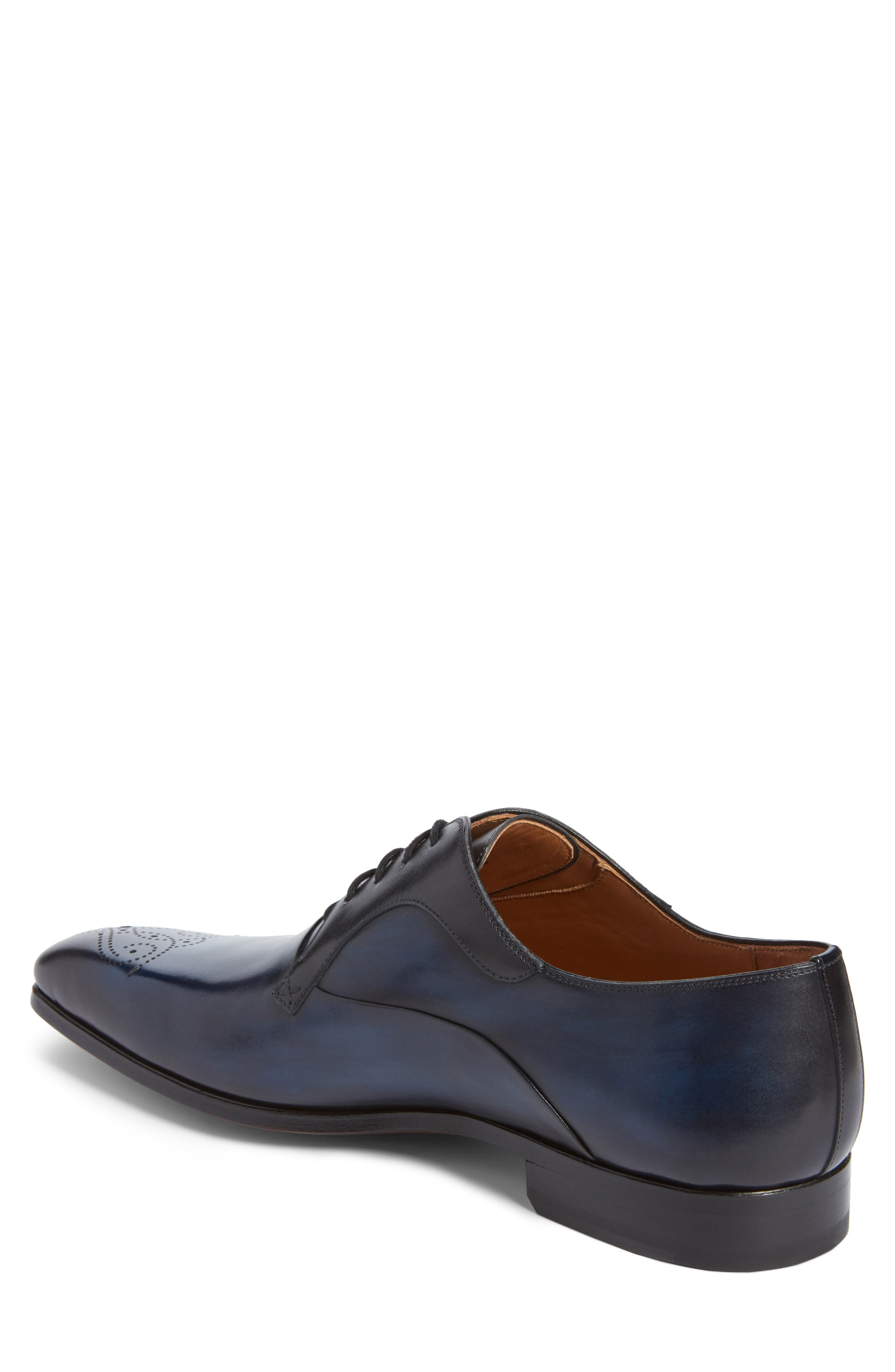 Salva Medallion Toe Oxford,                             Alternate thumbnail 2, color,                             Navy Leather