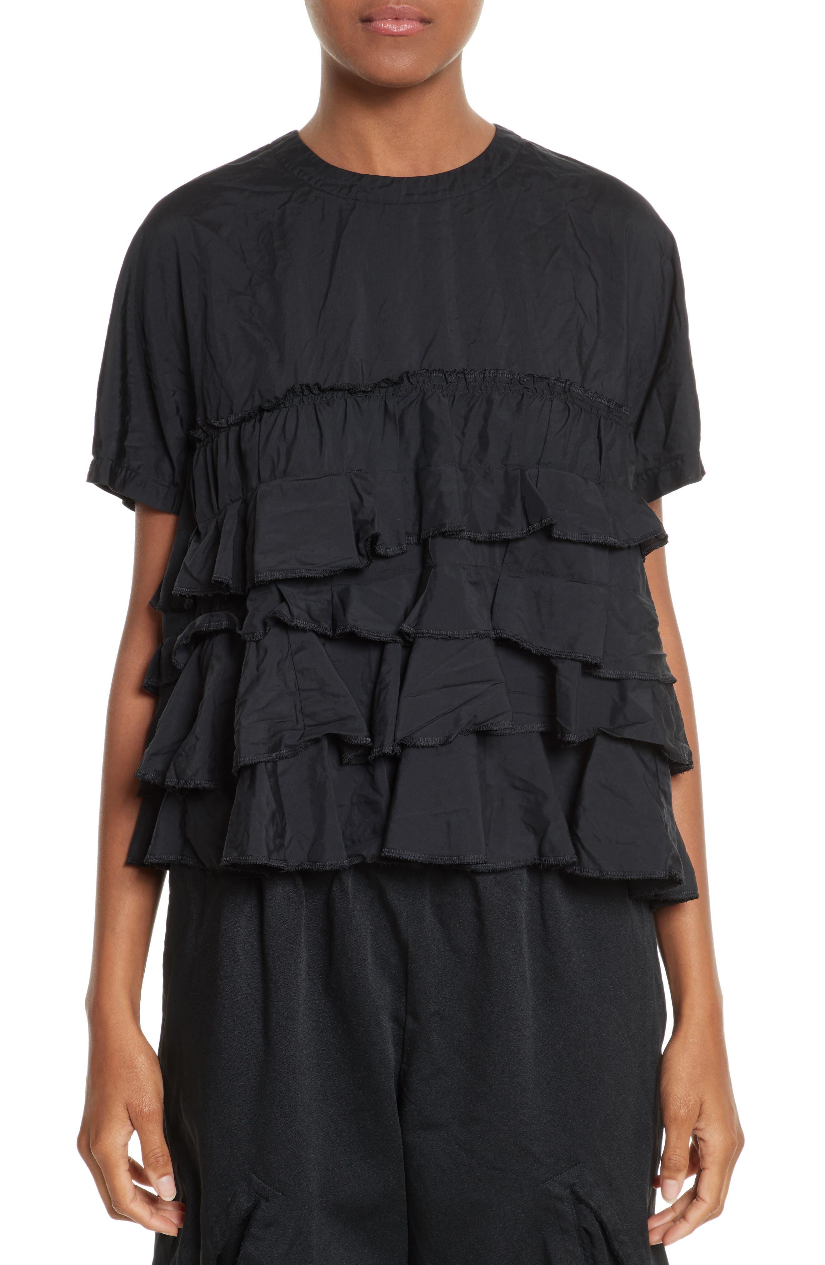 Ruffle Tier Blouse,                         Main,                         color, Black