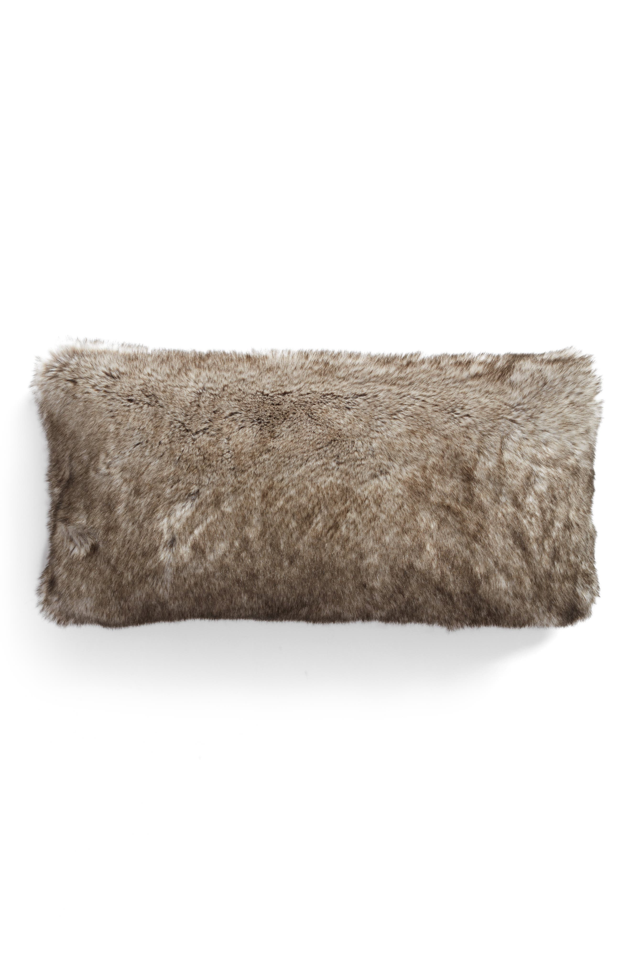 Cuddle Up Faux Fur Accent Pillow,                             Main thumbnail 1, color,                             New Natural Tipped
