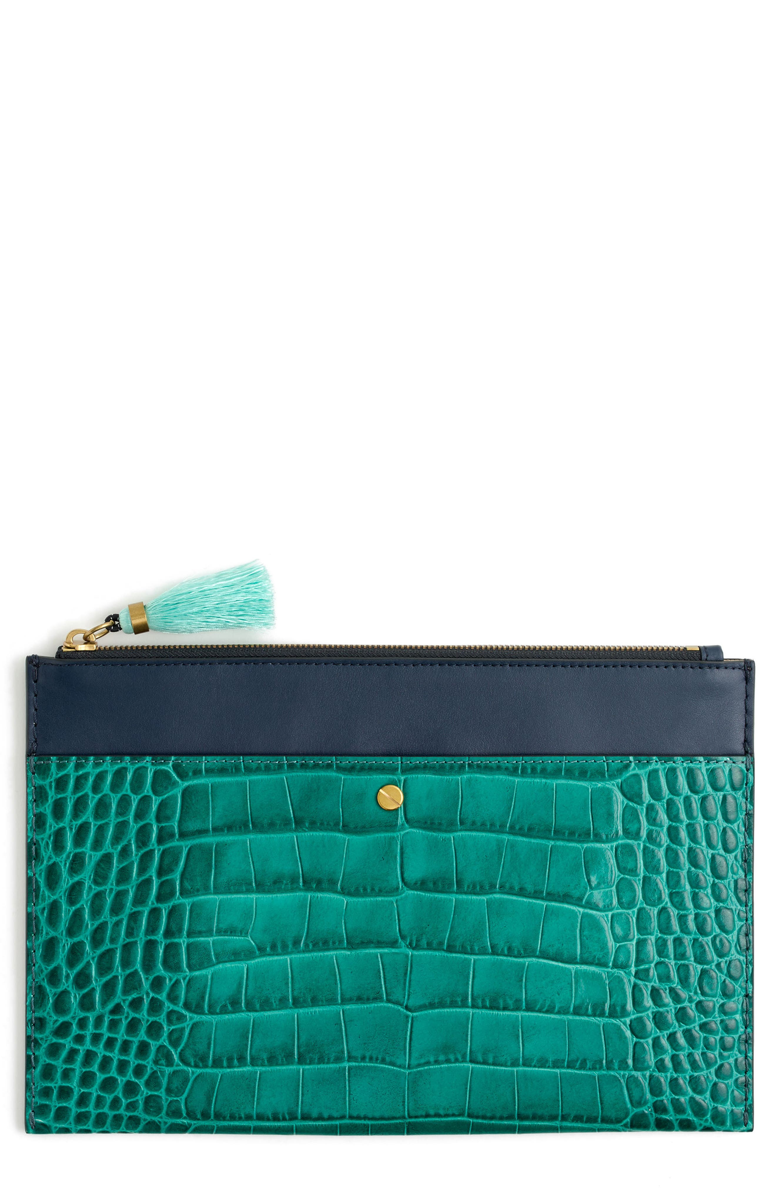 J.Crew Large Stamped Croc Leather Pouch,                             Main thumbnail 1, color,                             Peacock Blue