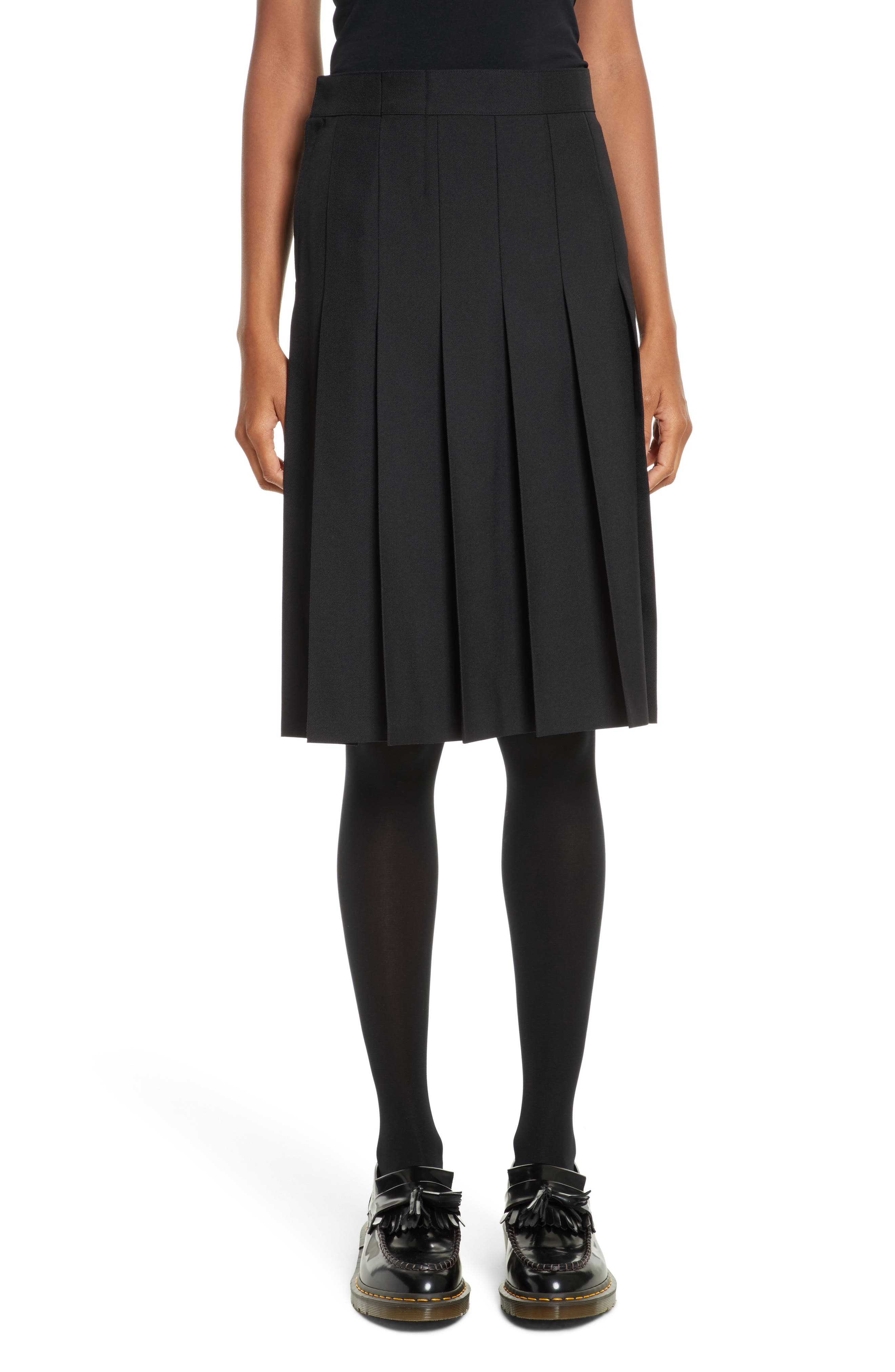 Pleated A-Line Skirt,                             Main thumbnail 1, color,                             Black