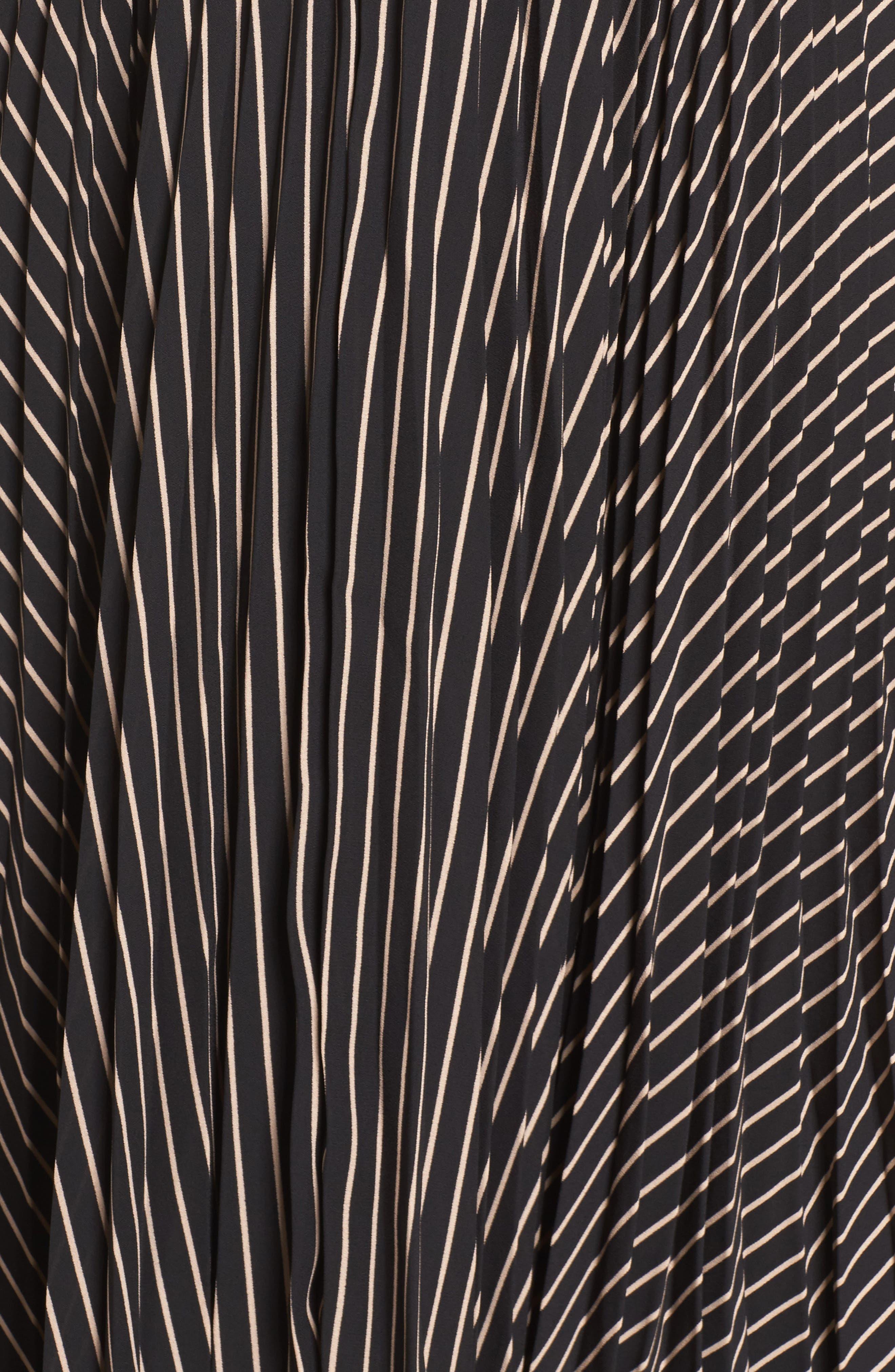 Like a Boss Midi Dress,                             Alternate thumbnail 5, color,                             Black/ Tan Stripe