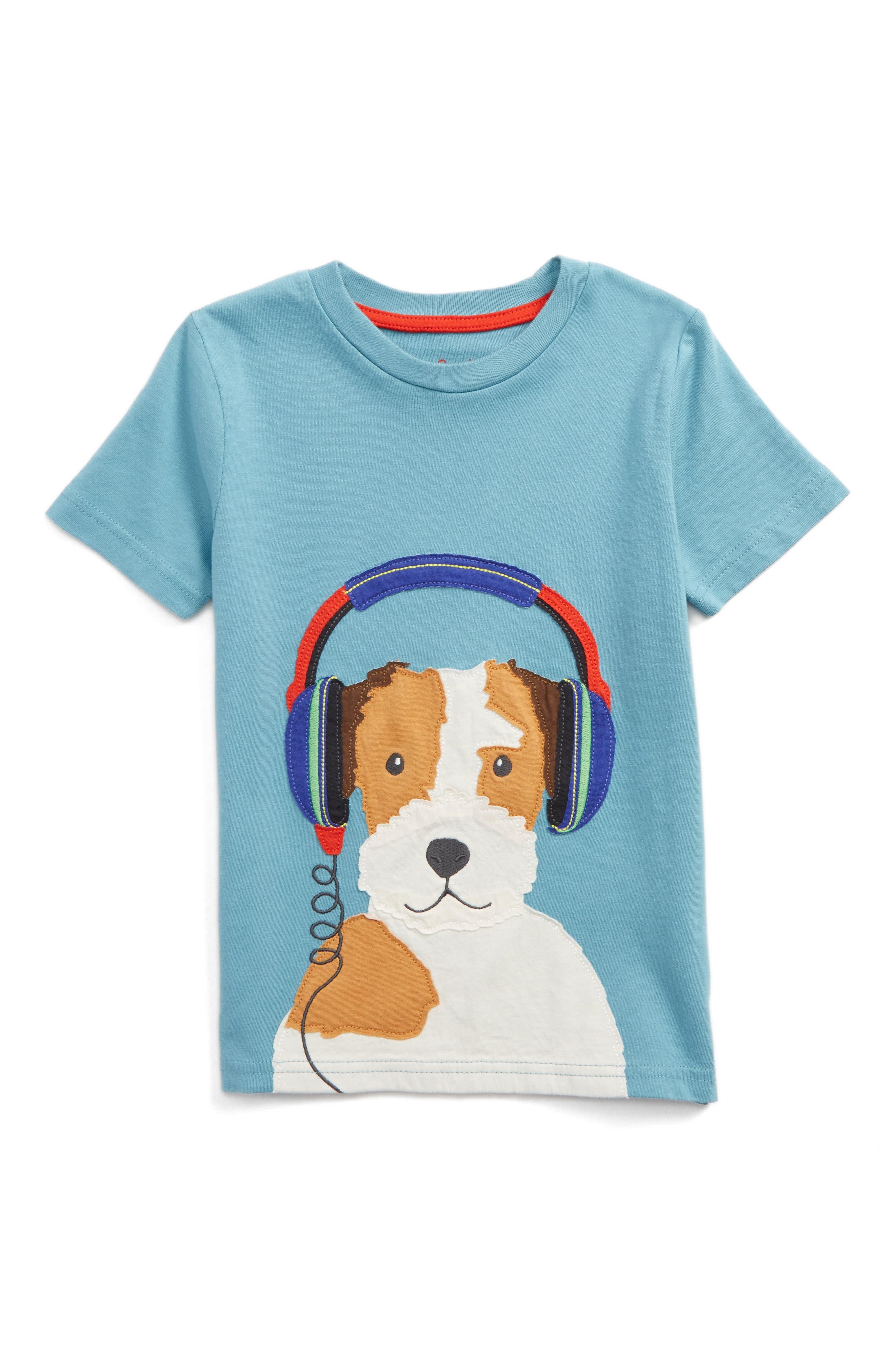Music Appliqué T-Shirt,                         Main,                         color, Ocean Scene Blue Headphones