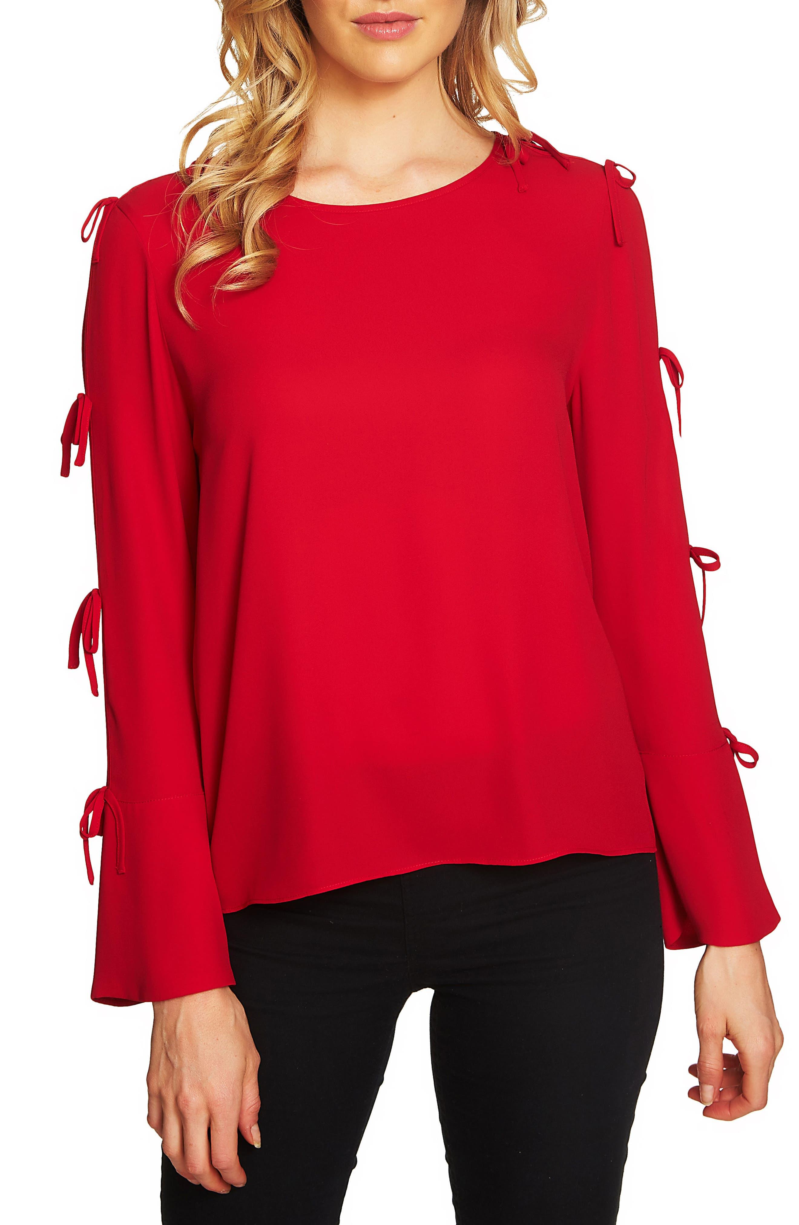 Split Sleeve Bow Blouse,                             Main thumbnail 1, color,                             Ribbon Red