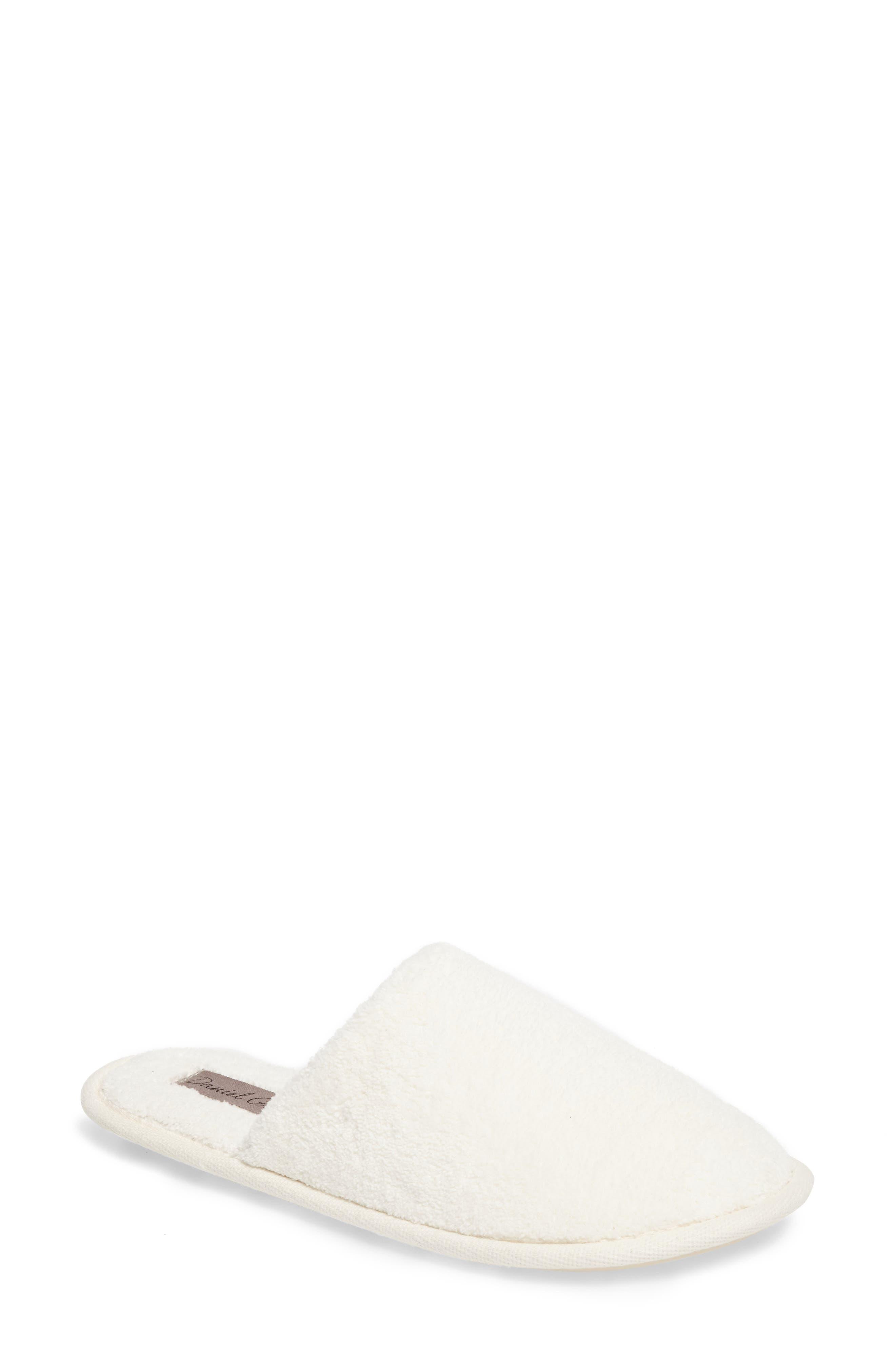 Rave II Slipper,                         Main,                         color, White Fabric