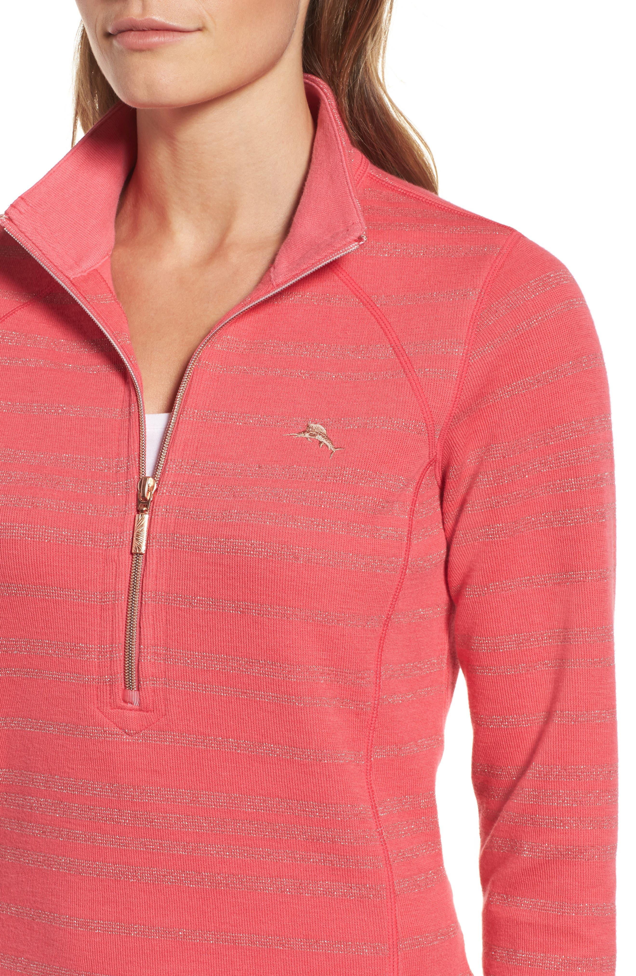 Aruba Shazam Stripe Half-Zip Pullover,                             Alternate thumbnail 4, color,                             Classic Pink