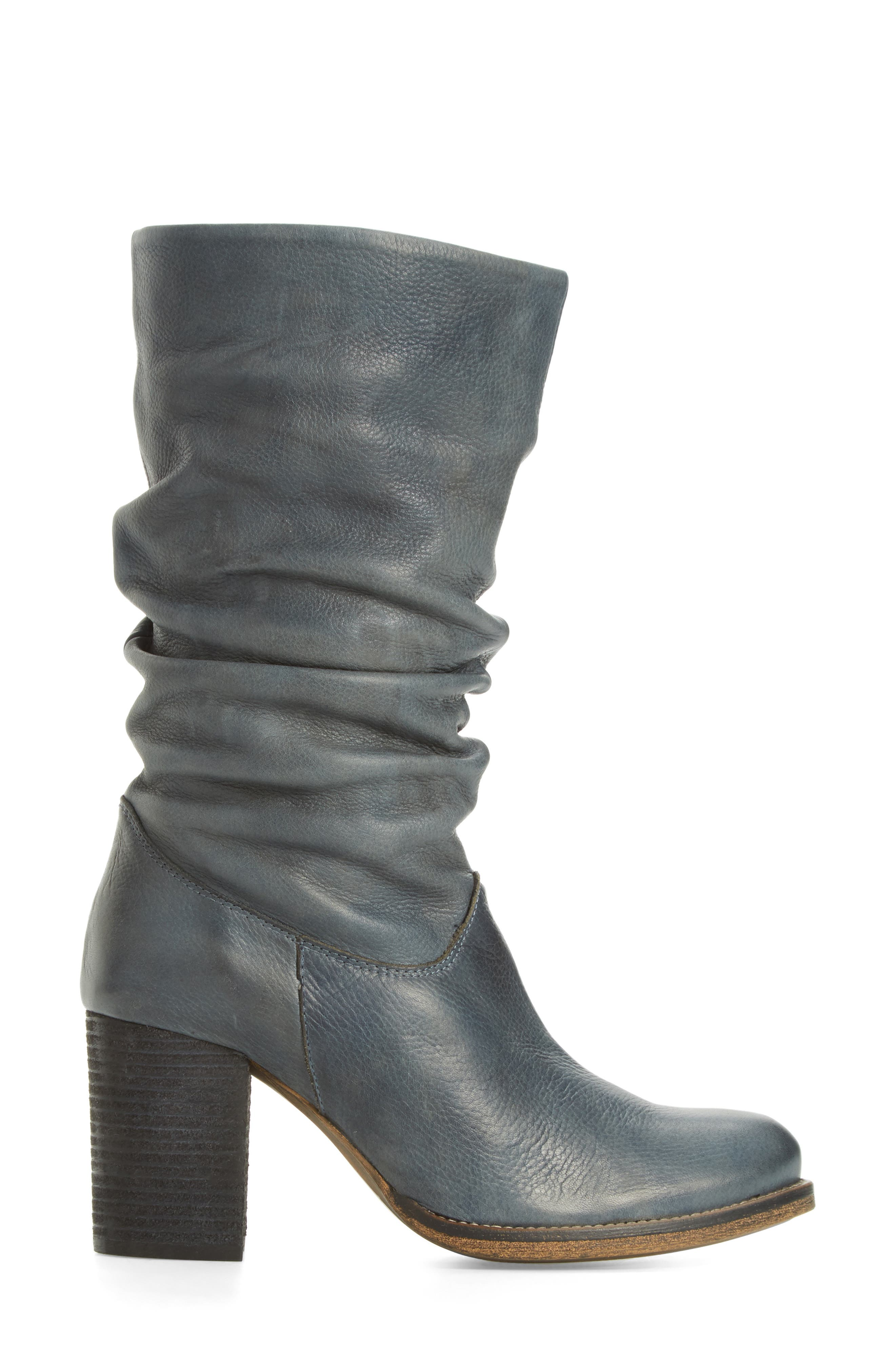 Tell It Block Heel Boot,                             Alternate thumbnail 3, color,                             Blue Leather