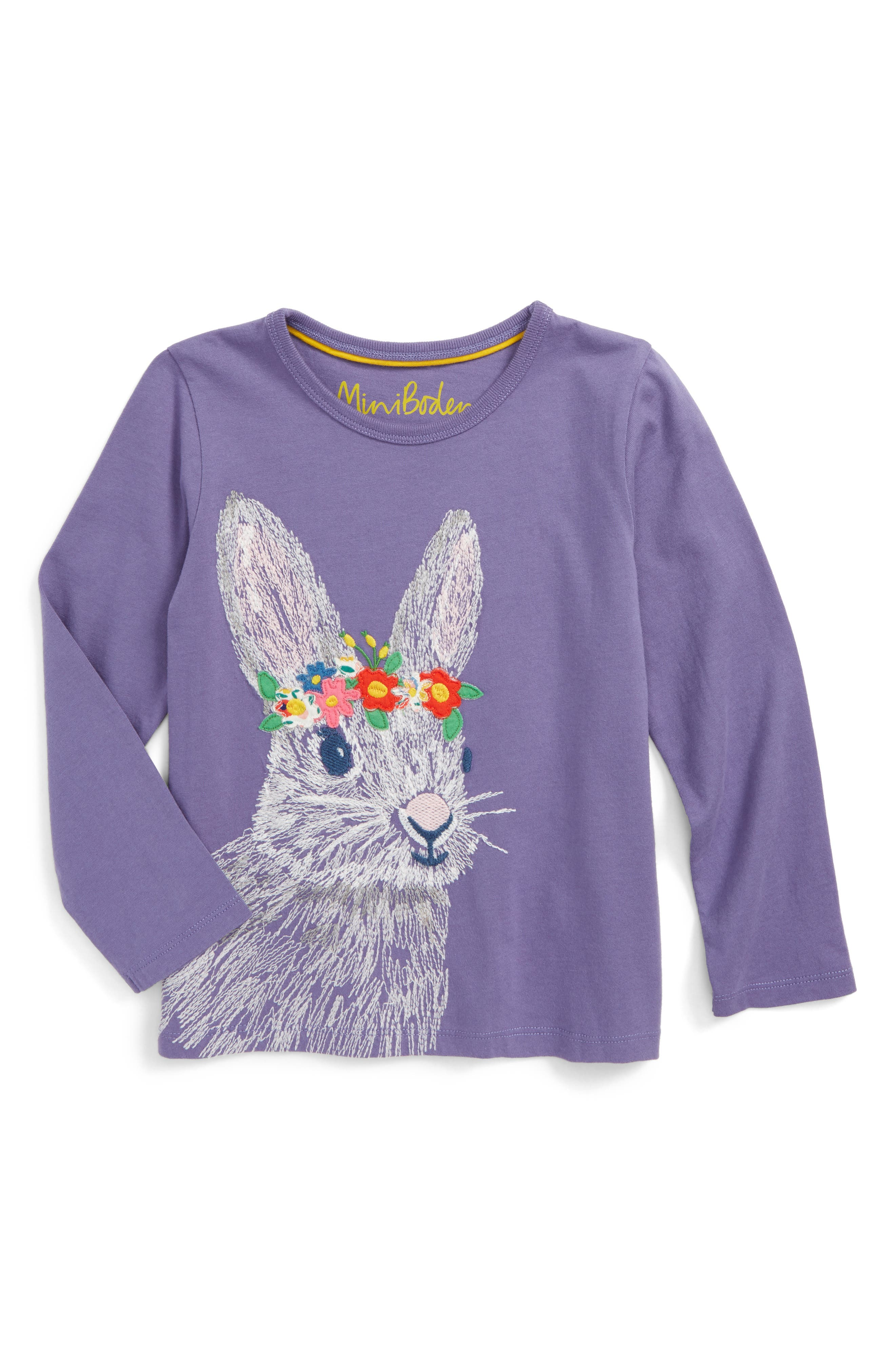 Mini Boden Bunny Superstitch Embroidered Tee (Toddler Girls, Little Girls & Big Girls)