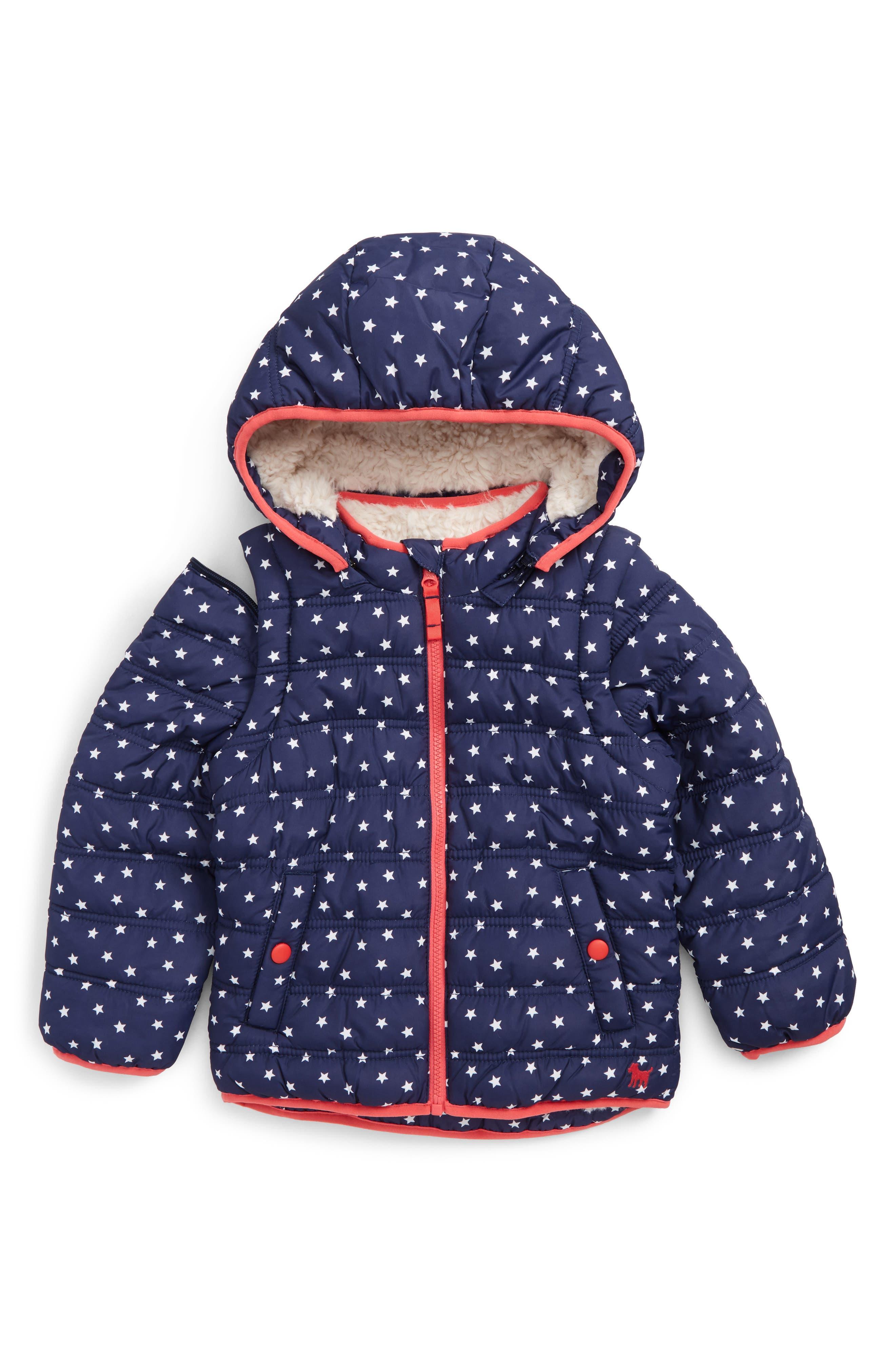 Main Image - Mini Boden 2-in-1 Water Resistant Padded Jacket (Toddler Girls, Little Girls & Big Girls)