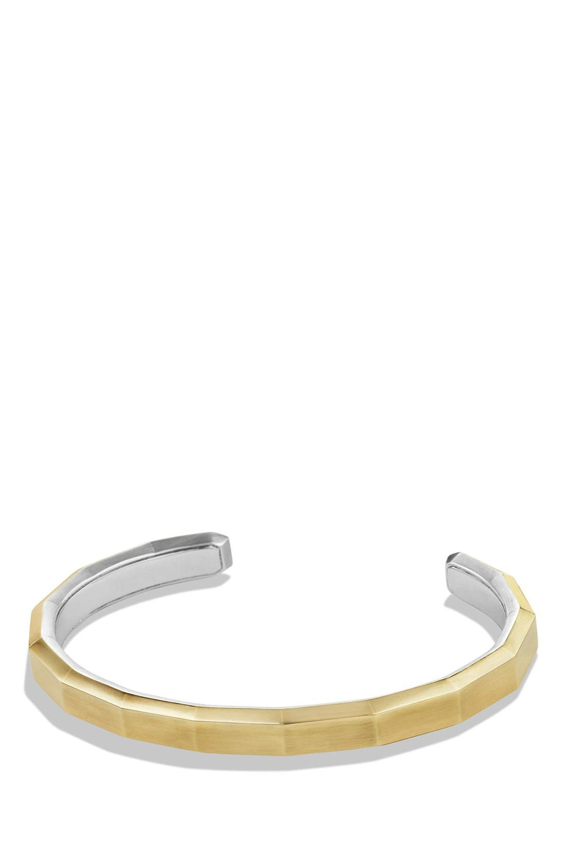 'Faceted Metal' Cuff Bracelet with 18k Gold,                         Main,                         color, Two Tone