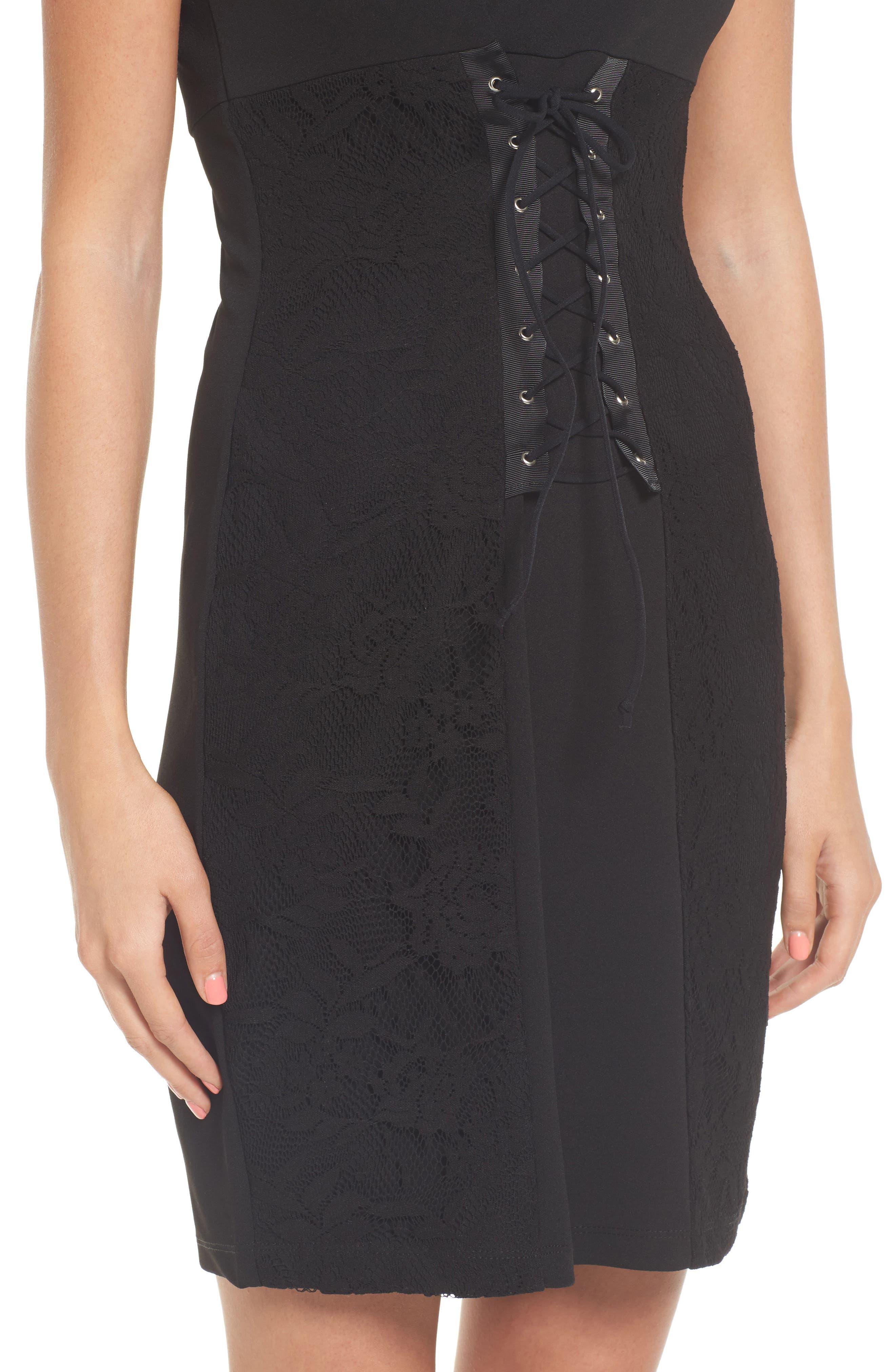Alternate Image 4  - Speechless Corset Waist Lace Minidress