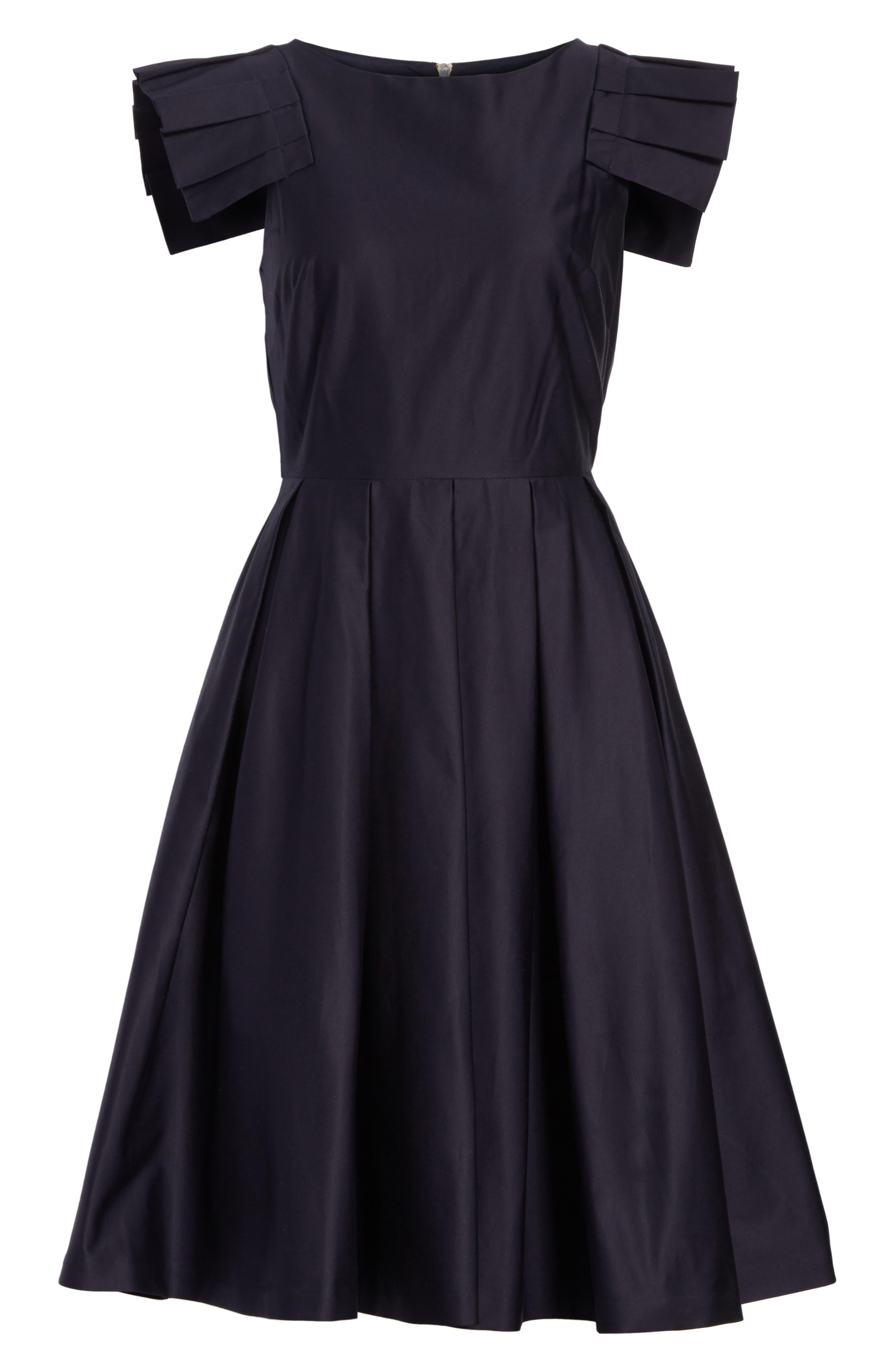 Gabrina Fit & Flare Dress,                             Alternate thumbnail 6, color,                             Navy