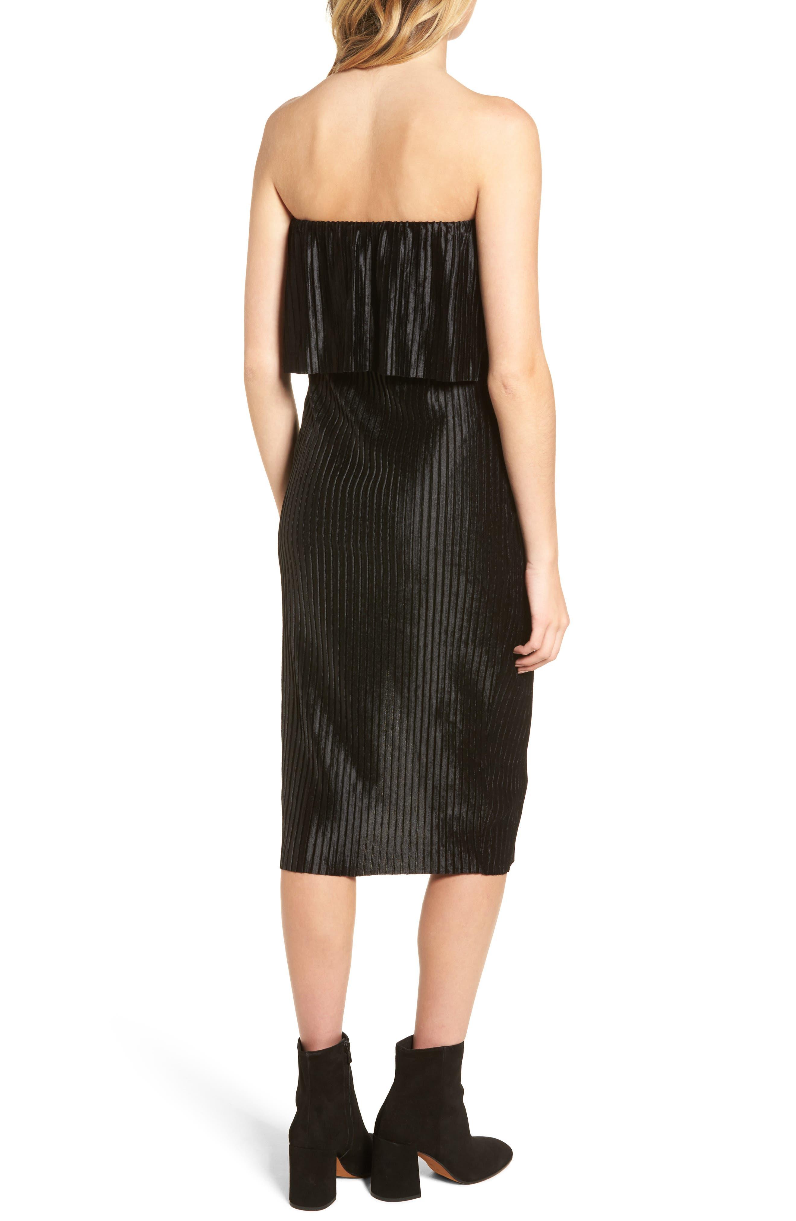 Pleated Popover Midi Dress,                             Alternate thumbnail 2, color,                             Black