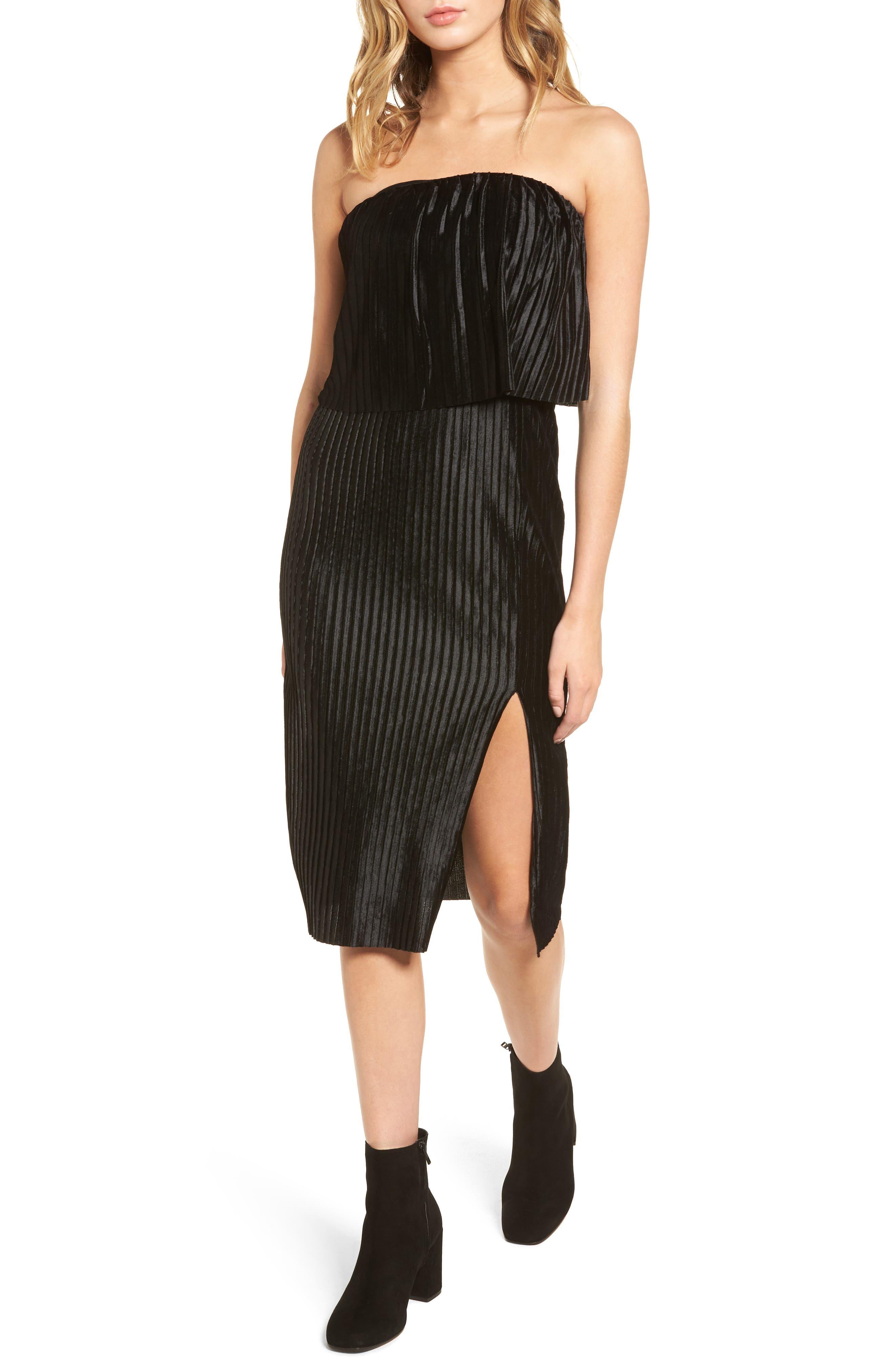 Pleated Popover Midi Dress,                         Main,                         color, Black