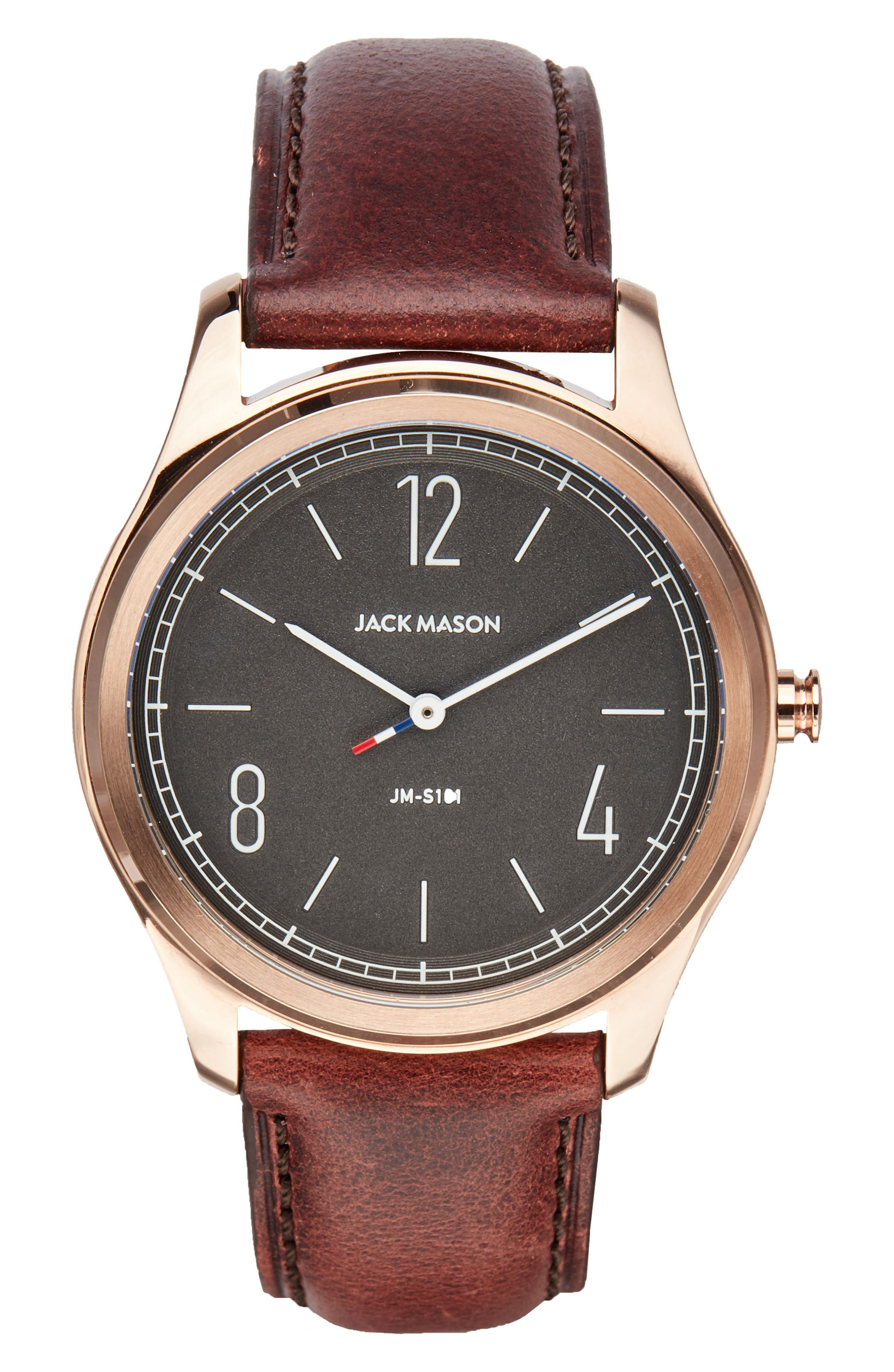 JACK MASON Slim Leather Strap Watch, 42mm