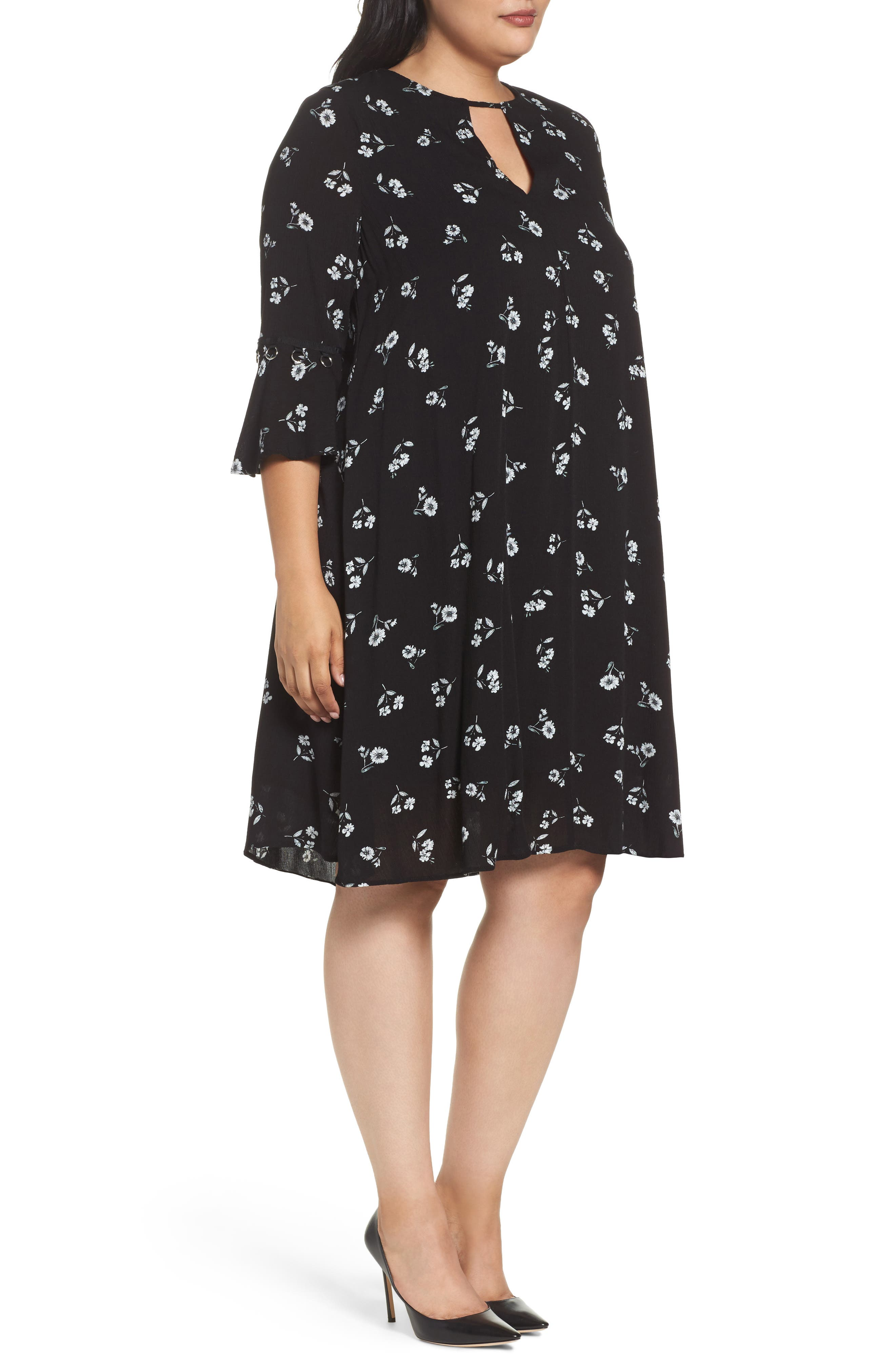 Alternate Image 3  - Glamorous Bell Sleeve Floral Shift Dress (Plus Size)