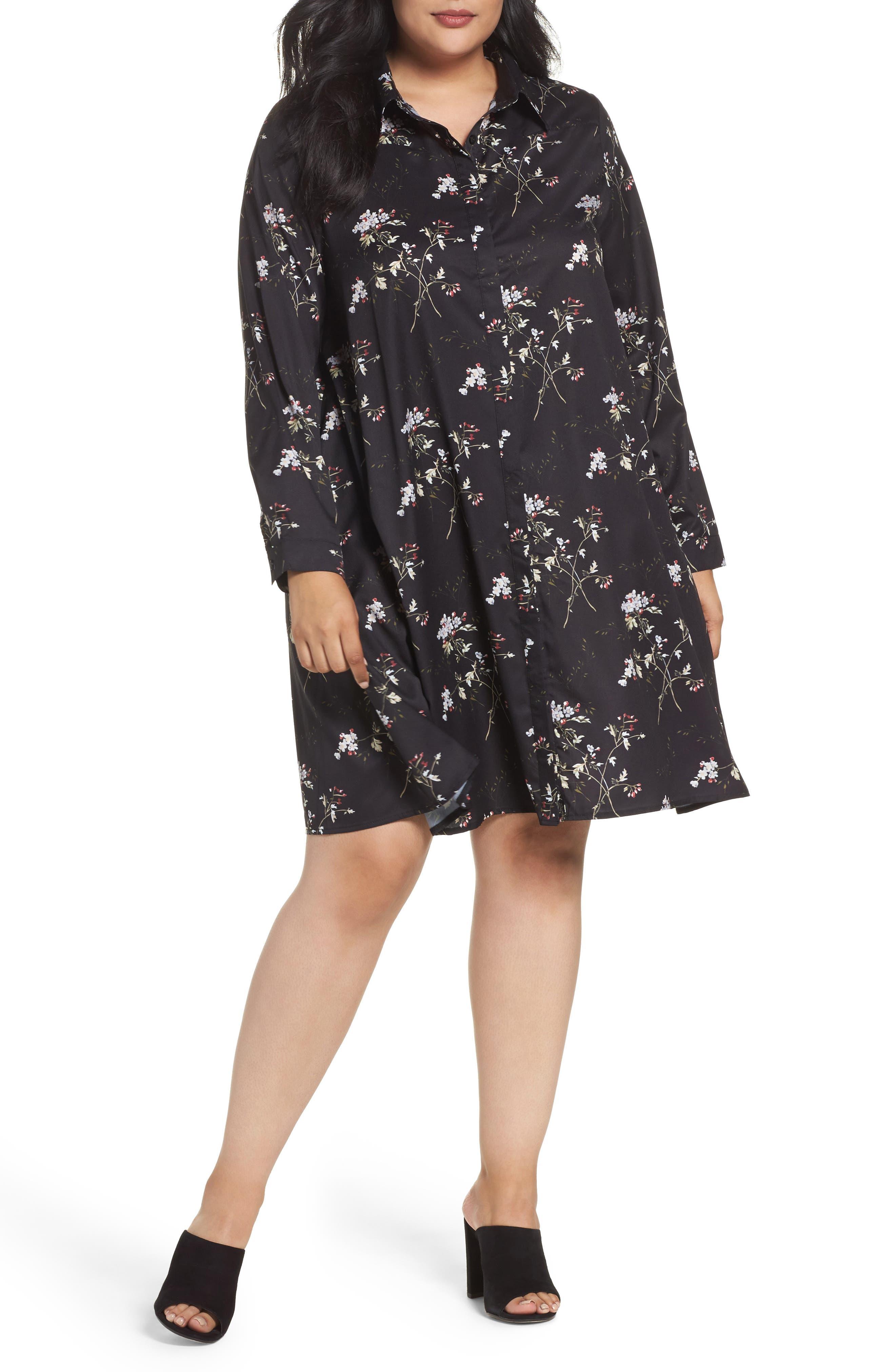 Floral Print Shirtdress,                         Main,                         color, Black Bouquet Floral