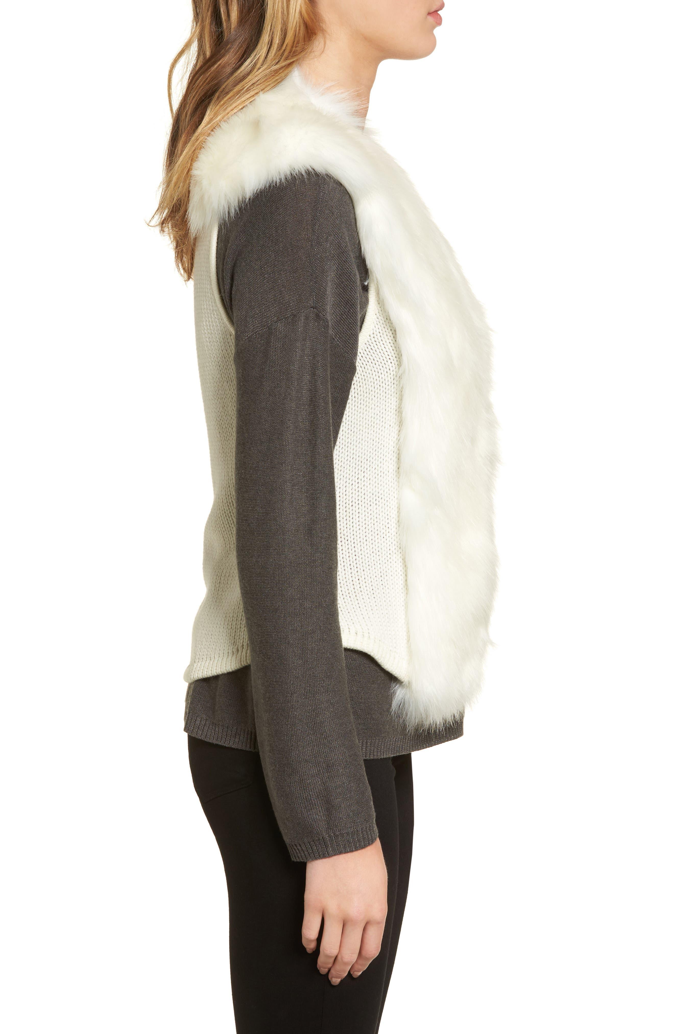 Alternate Image 3  - Love Token Faux Fur Knit Vest