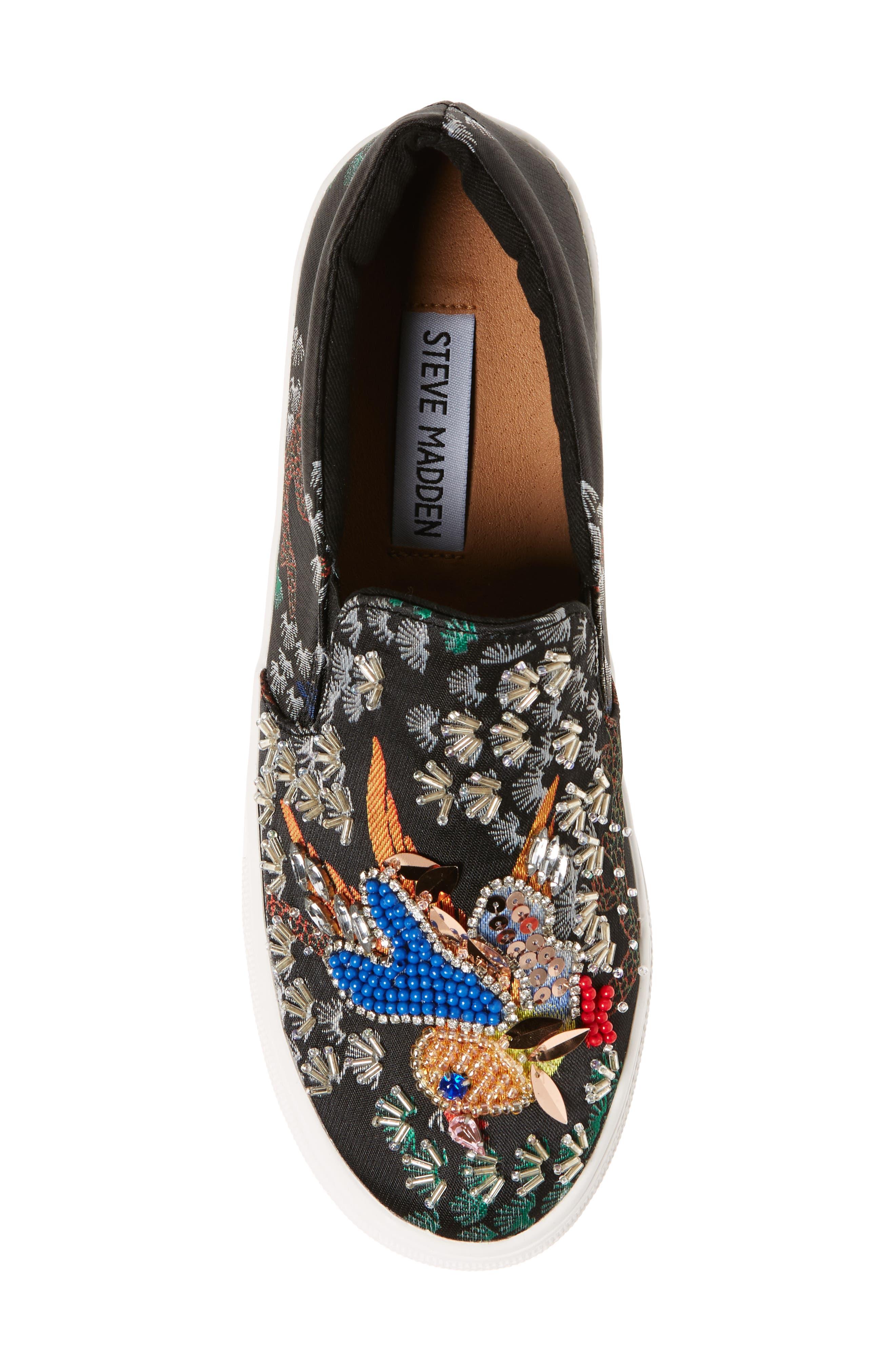 Gwen Embellished Slip-On Platform Sneaker,                             Alternate thumbnail 5, color,                             Black Multi