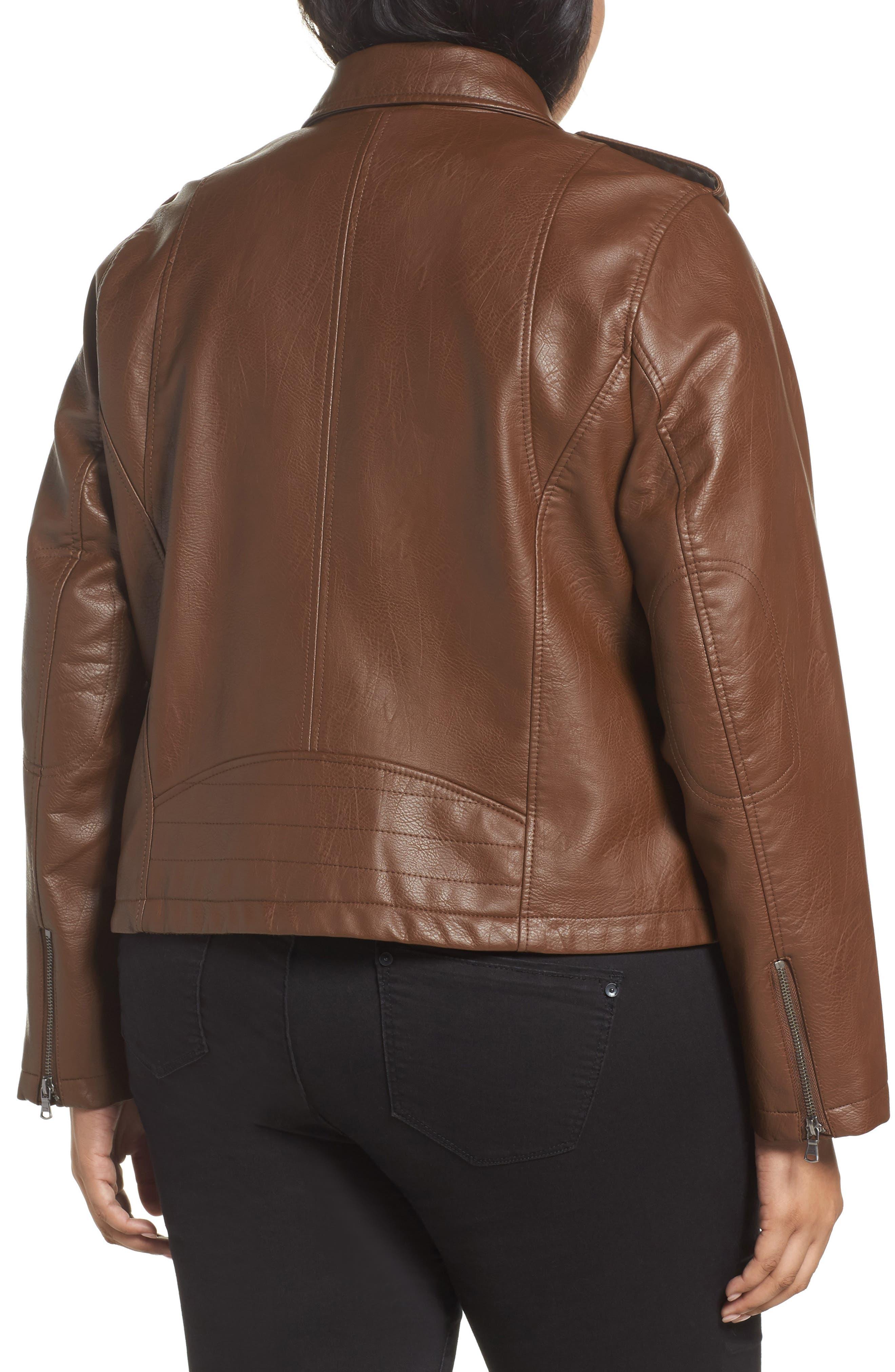 Faux Leather Jacket,                             Alternate thumbnail 2, color,                             Cognac