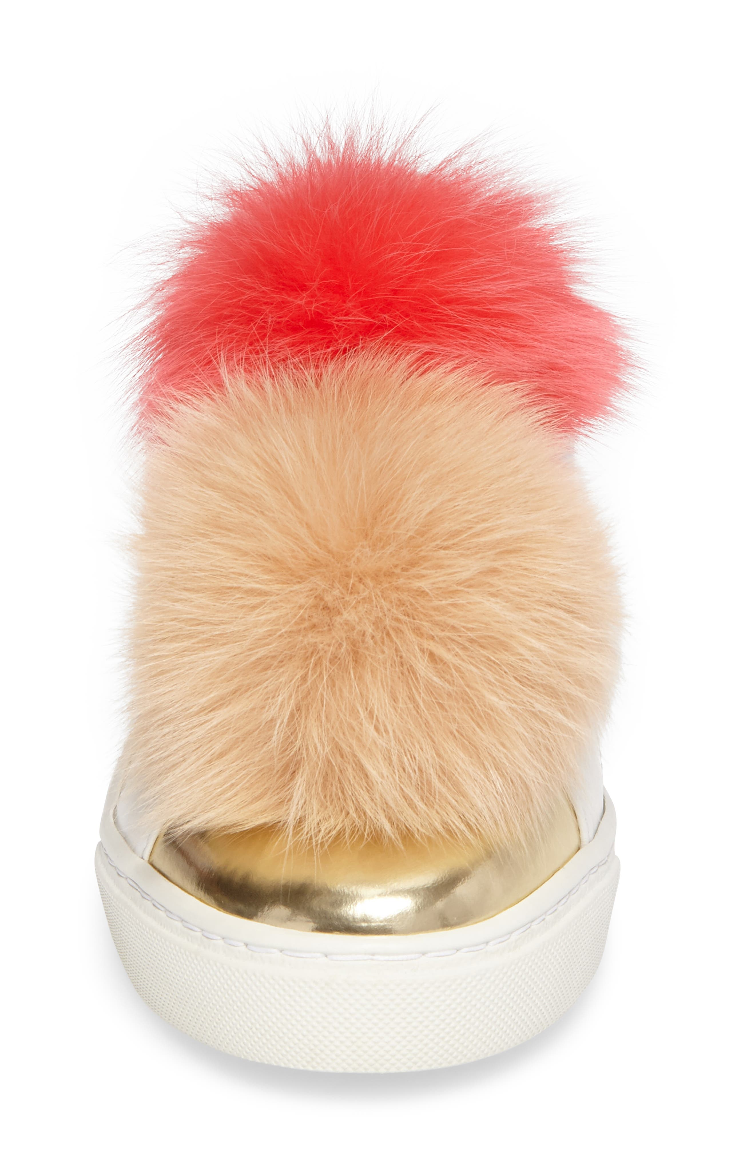 Coco Genuine Fox Fur Trim Platfrom Sneaker,                             Alternate thumbnail 4, color,                             Pink/Camel Leather