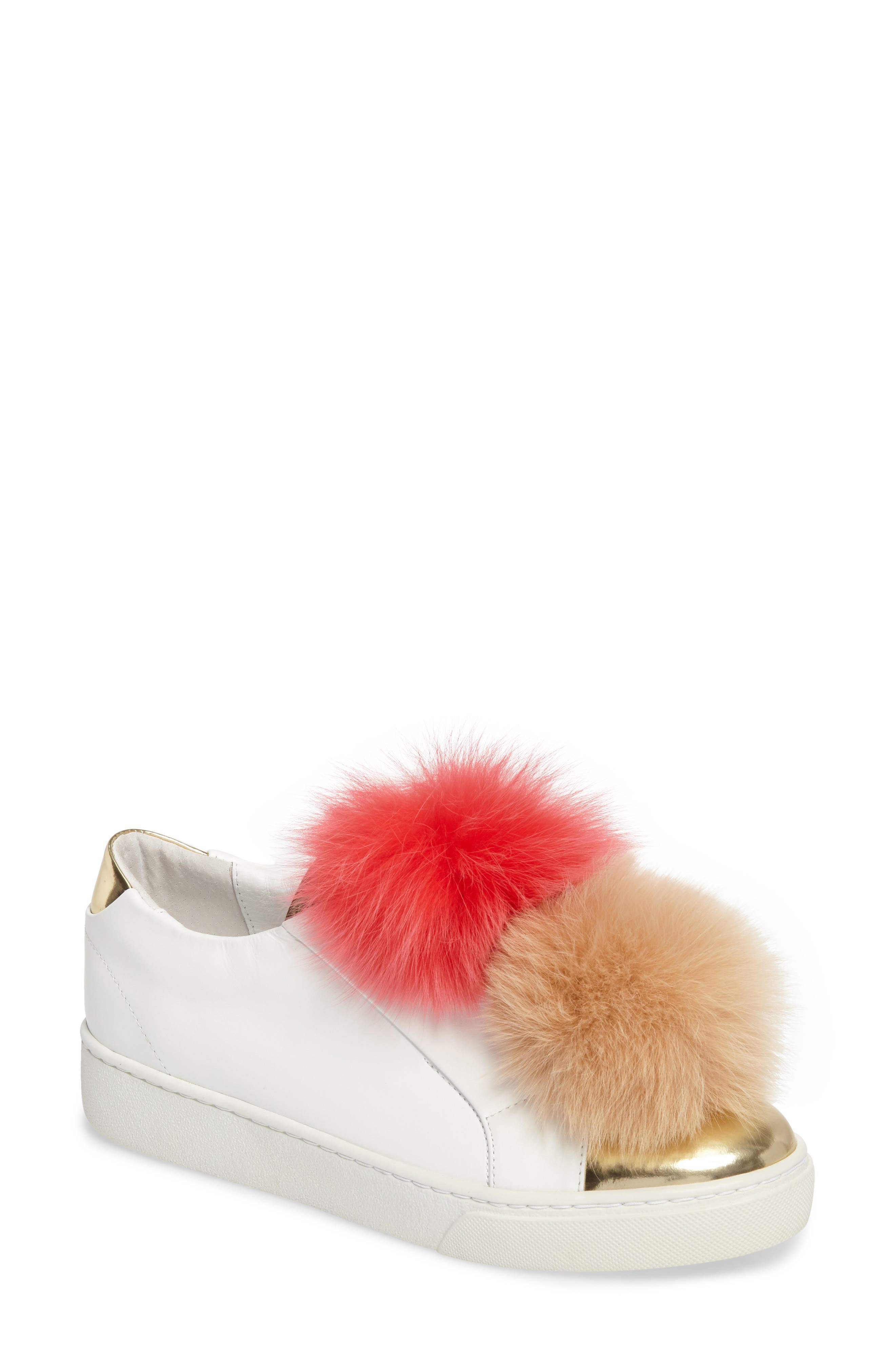 Coco Genuine Fox Fur Trim Platfrom Sneaker,                         Main,                         color, Pink/Camel Leather