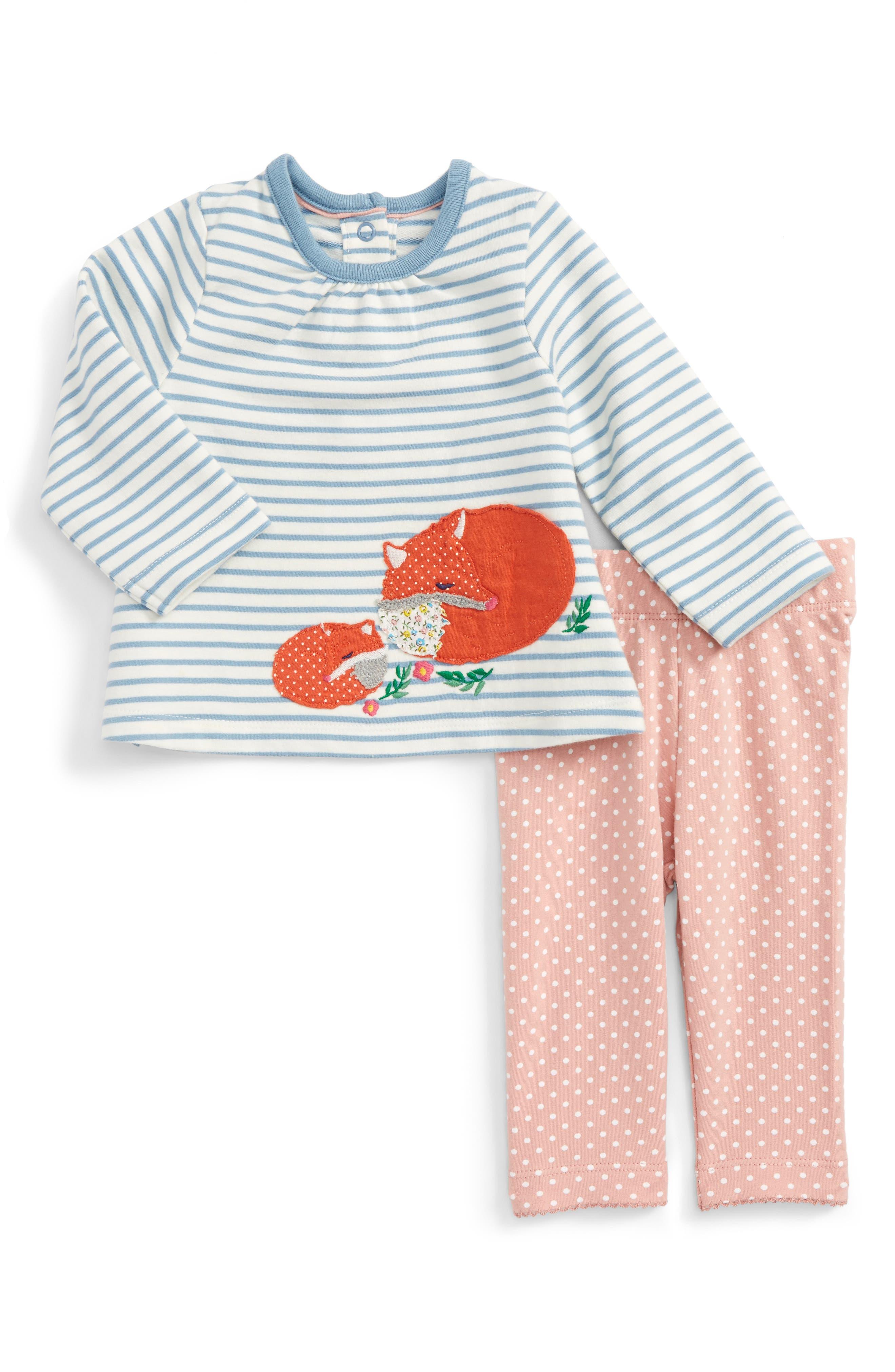 Main Image - Mini Boden Animal Friends Tee & Leggings Set (Baby Girls & Toddler Girls)