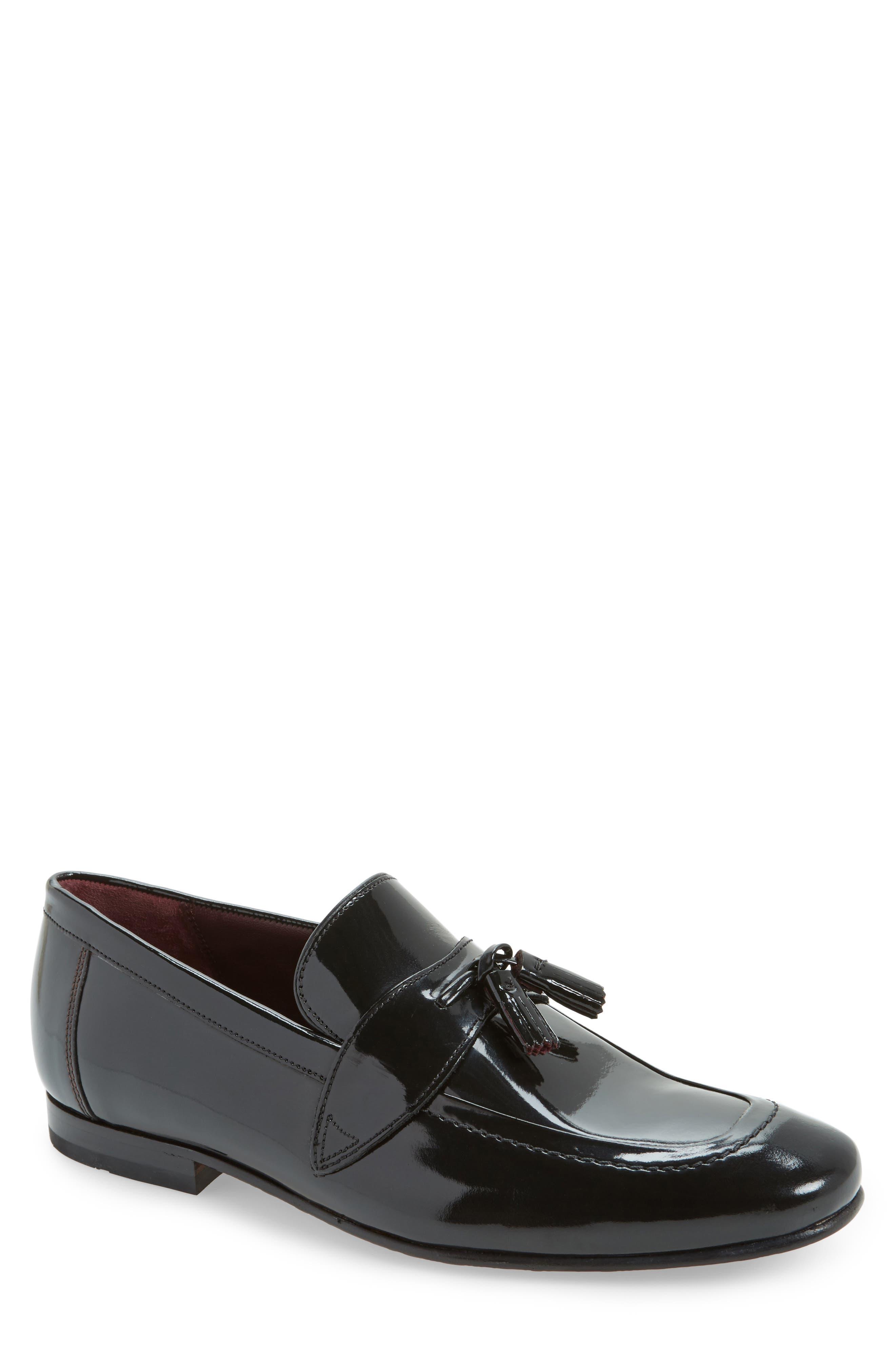 Grafit Tassel Loafer,                             Main thumbnail 1, color,                             Black Patent Leather