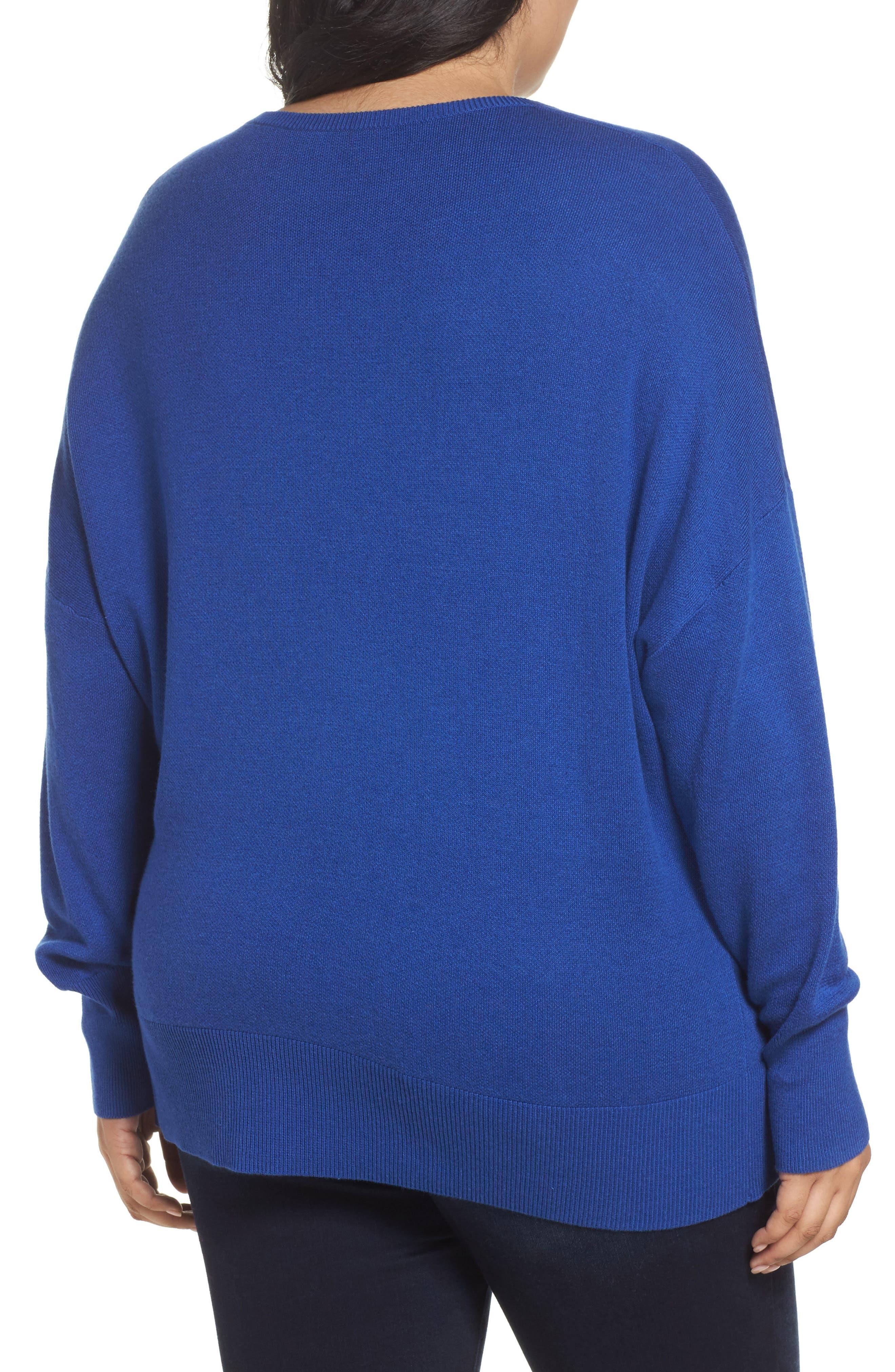 Dolman Sleeve Crewneck Sweater,                             Alternate thumbnail 2, color,                             Blue Mazarine