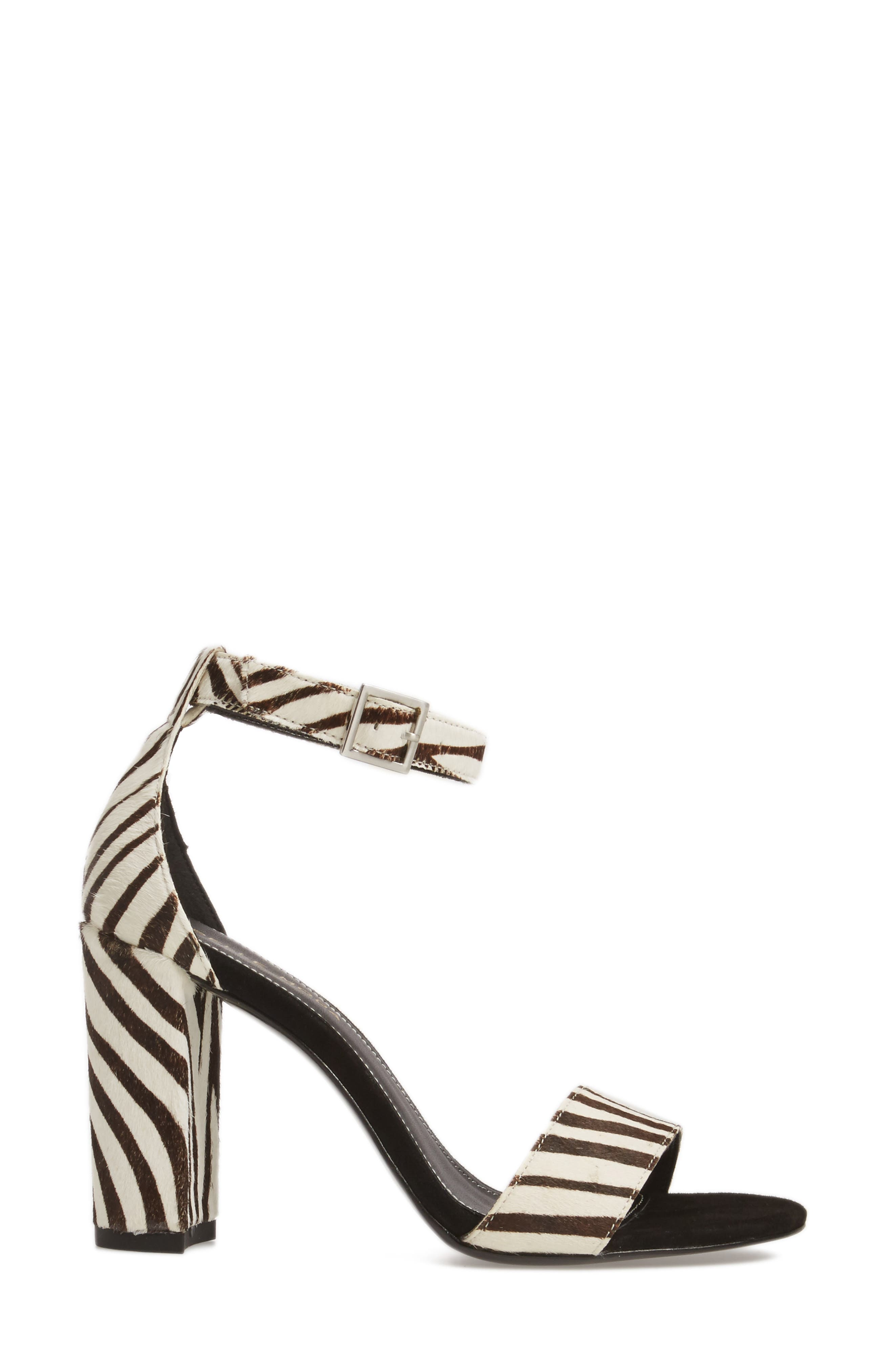 'Bonnie' Ankle Strap Sandal,                             Alternate thumbnail 3, color,                             Zebra Print Calf Hair